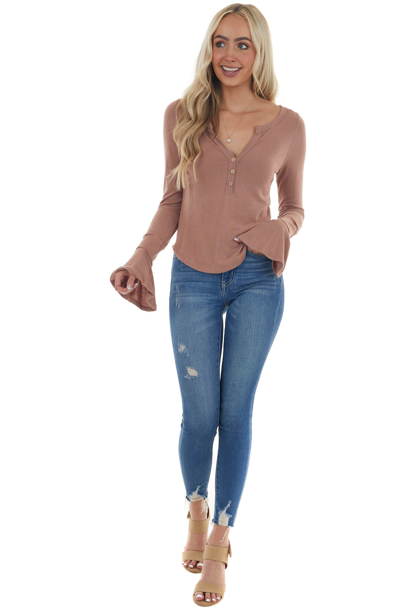 Rose Taupe Bell Sleeve Button Up Detail Top