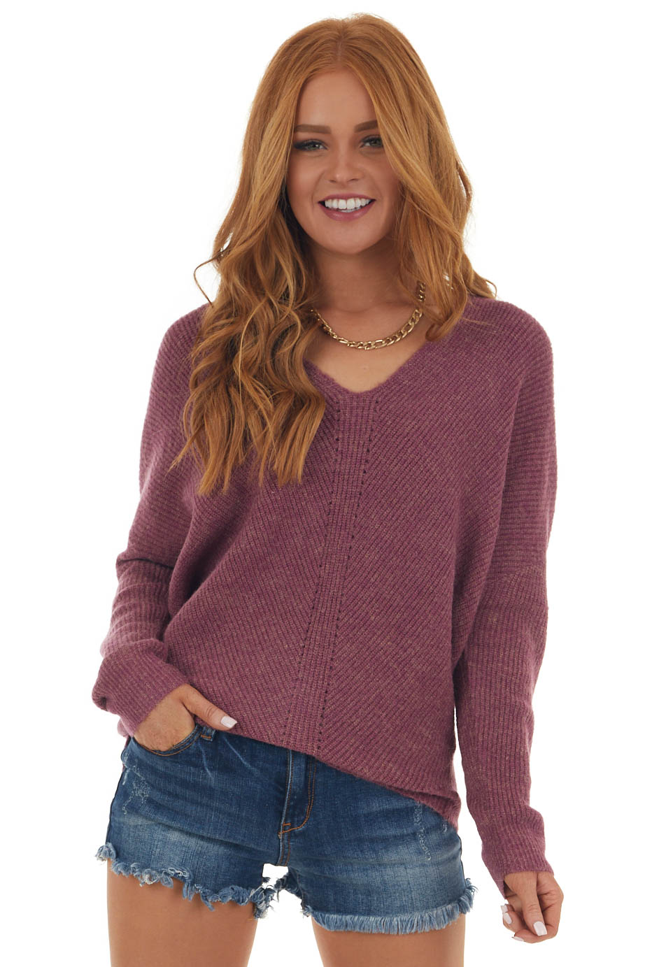 Berry Two Toned Soft Knit Long Sleeve Sweater
