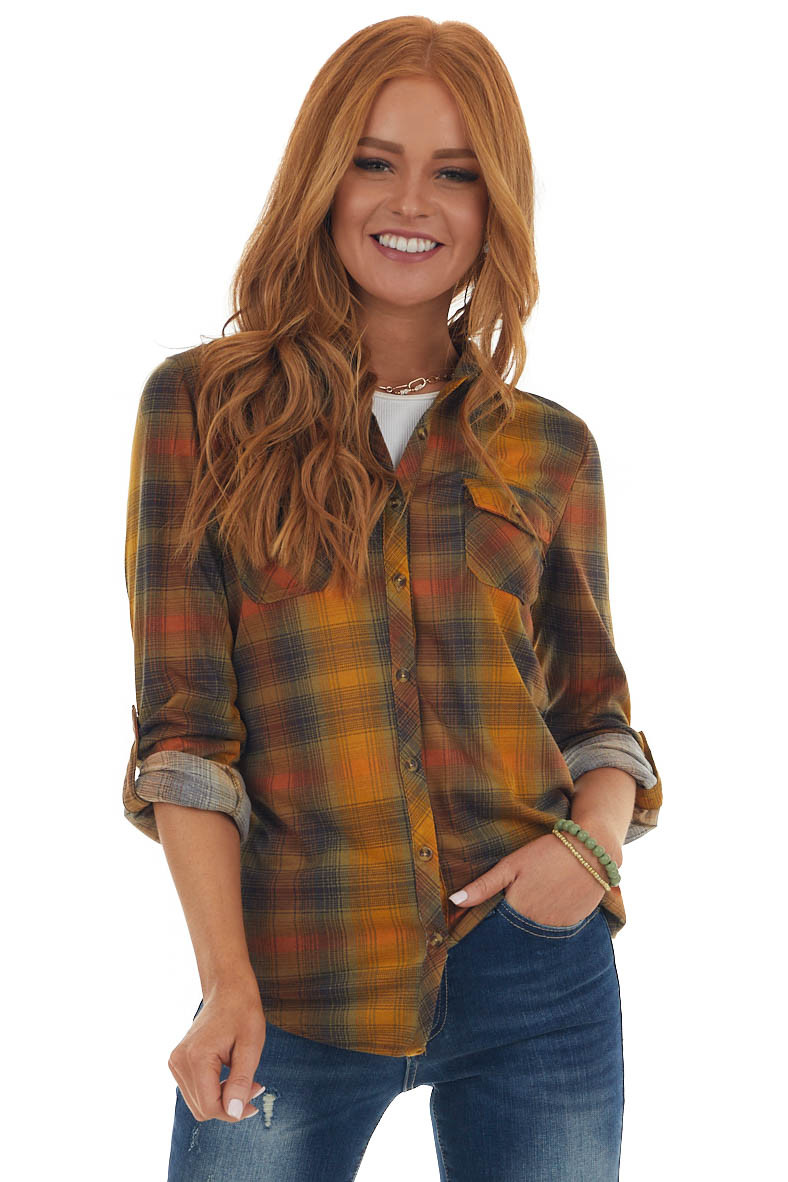Honey Plaid Button Up Top with Chest Pockets