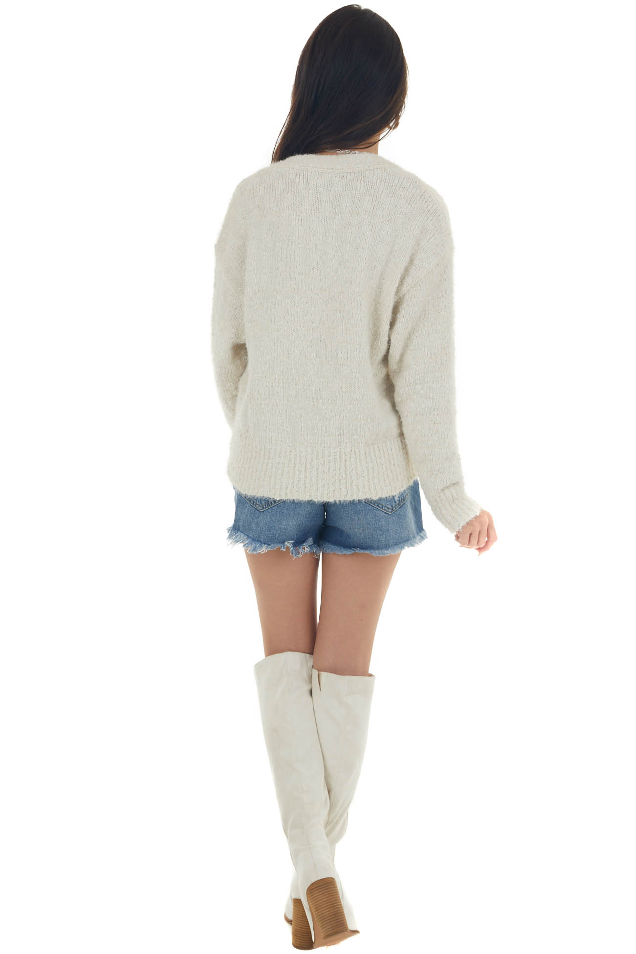 Ivory Chunky Knit Chenille Button Cardigan