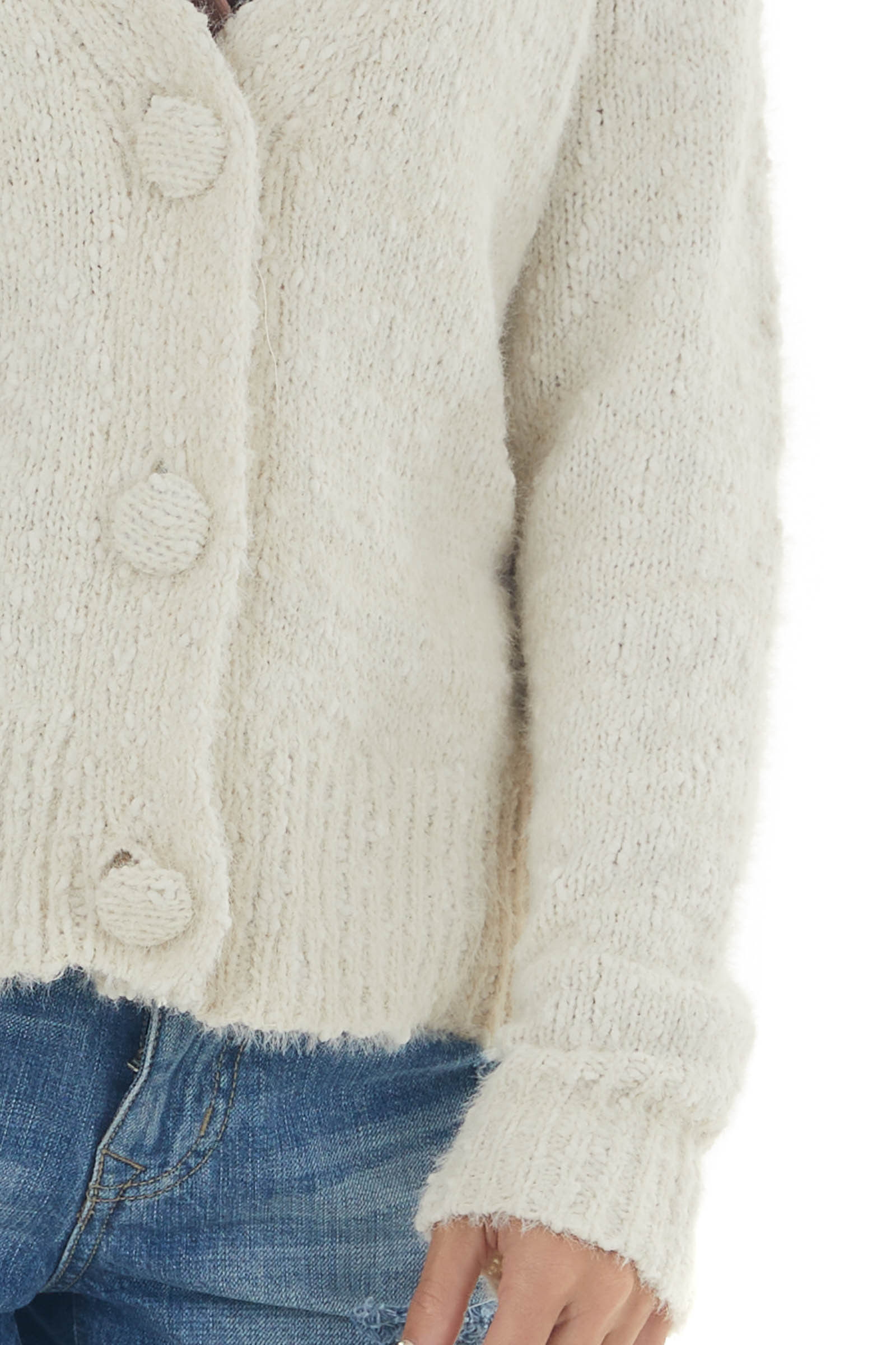 Ivory Chunky Knit Chennille Button Cardigan