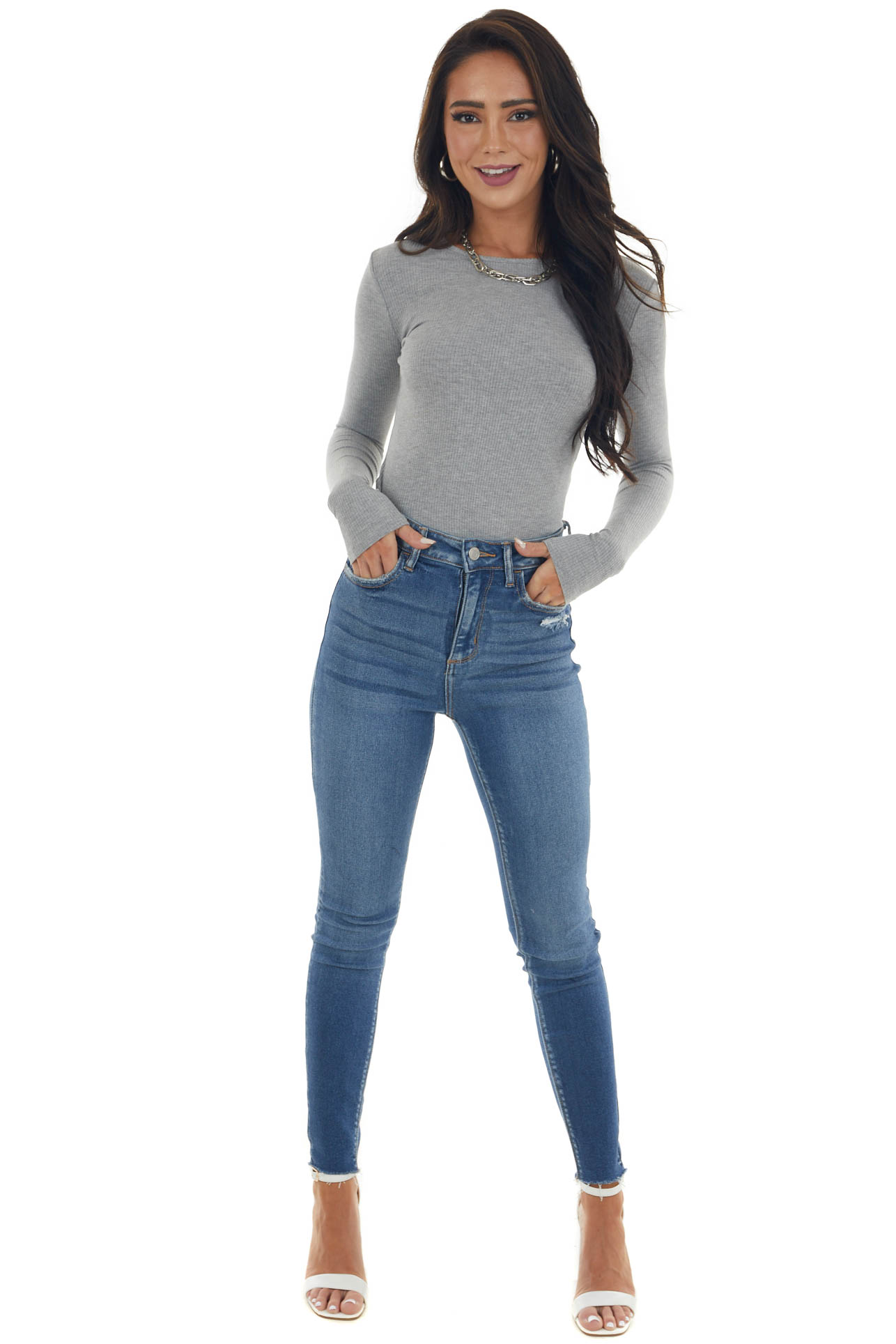 Dove Grey Long Sleeve Fitted Rib Knit Bodysuit