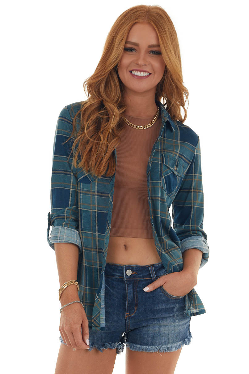 Teal Plaid Button Up Top with Chest Pockets