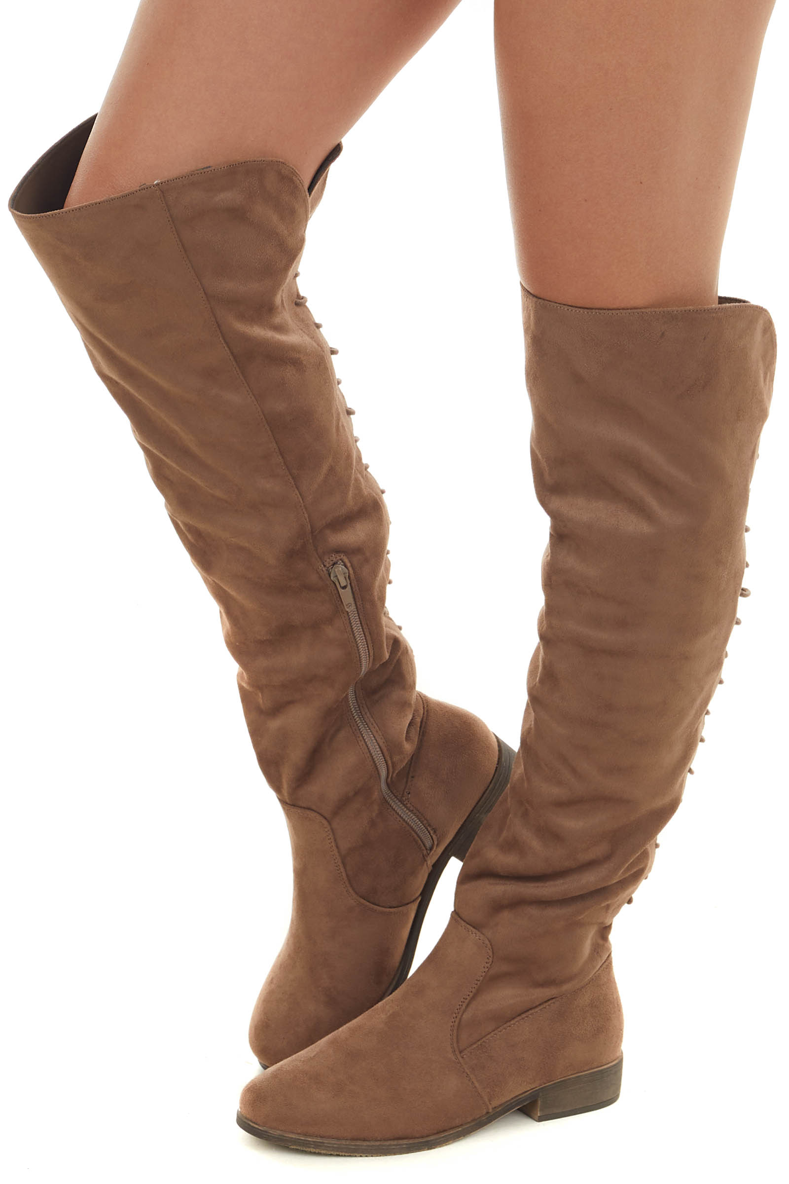 Taupe Faux Suede Knee High Back Lace Up Boots