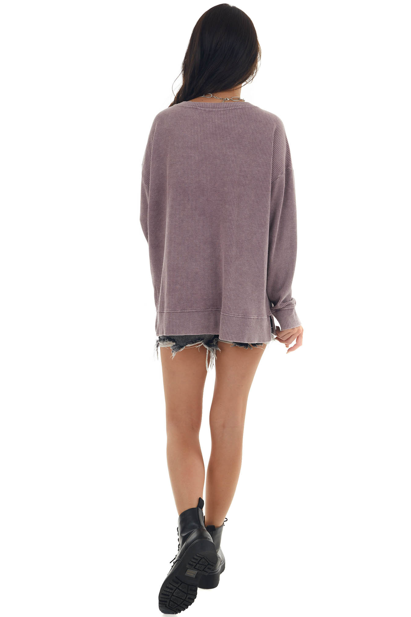 Mauve Mineral Washed Knit Tunic Top
