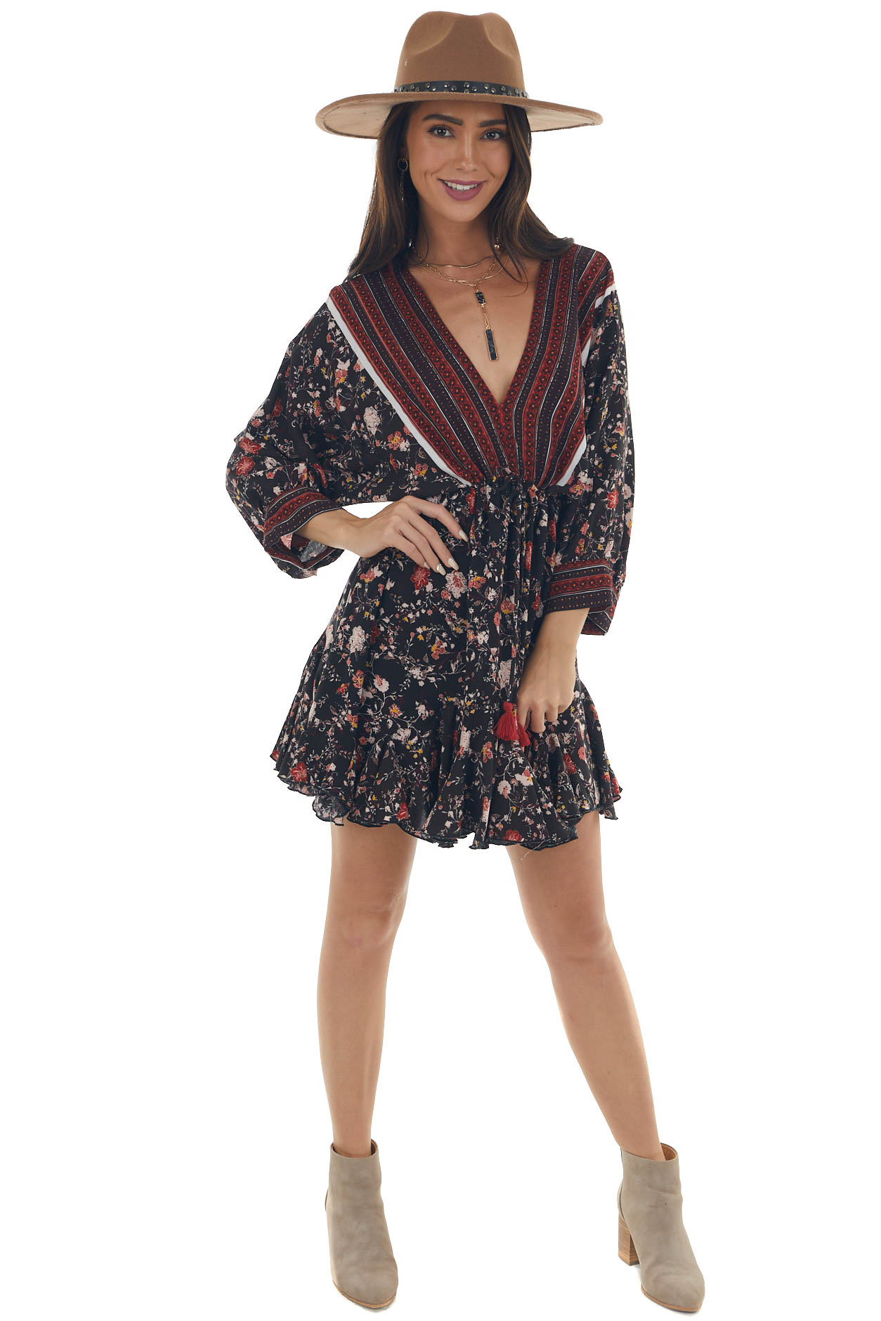Coffee Floral and Abstract Ruffle Mini Dress