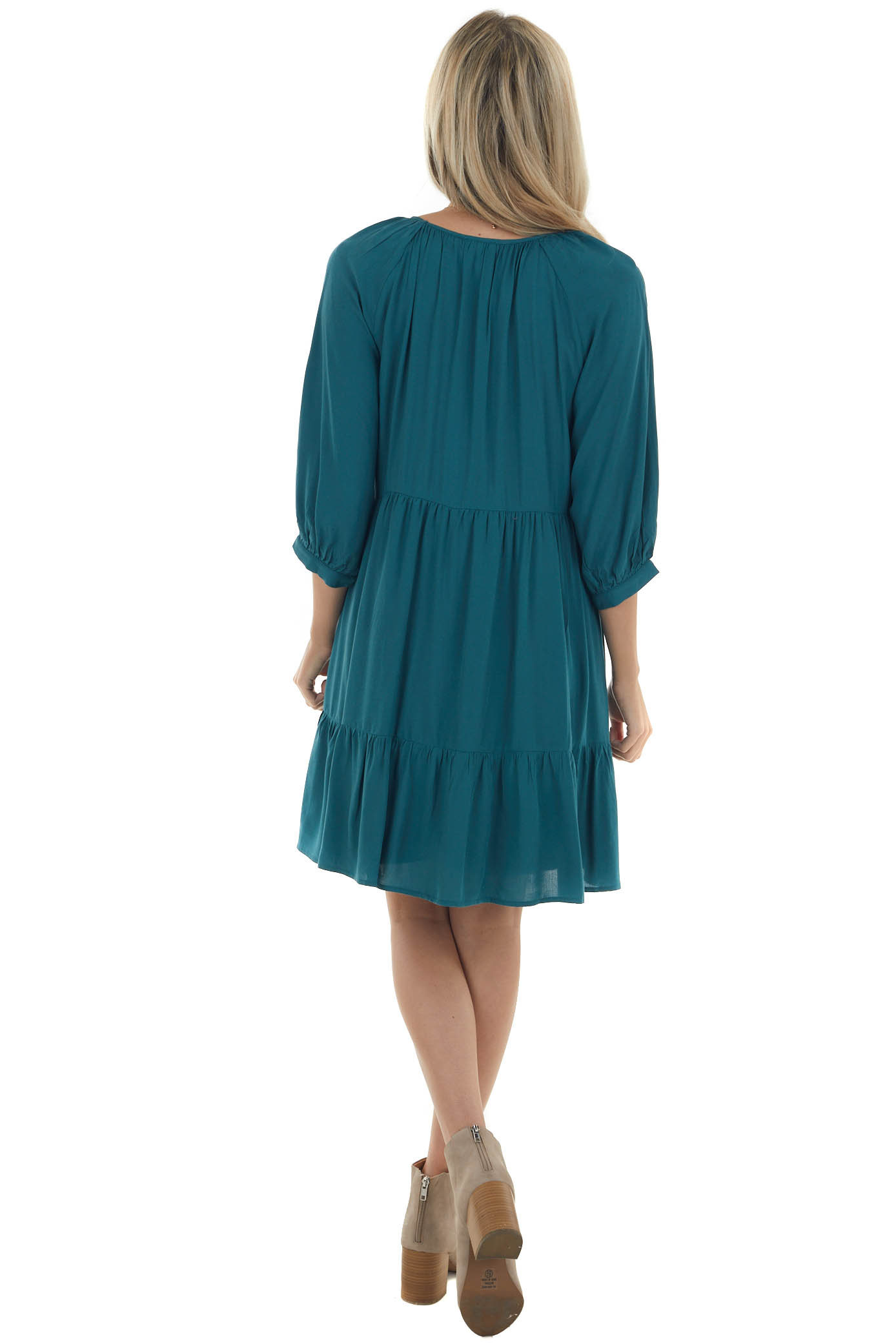 Pine and Champagne 3/4 Sleeve Babydoll Dress