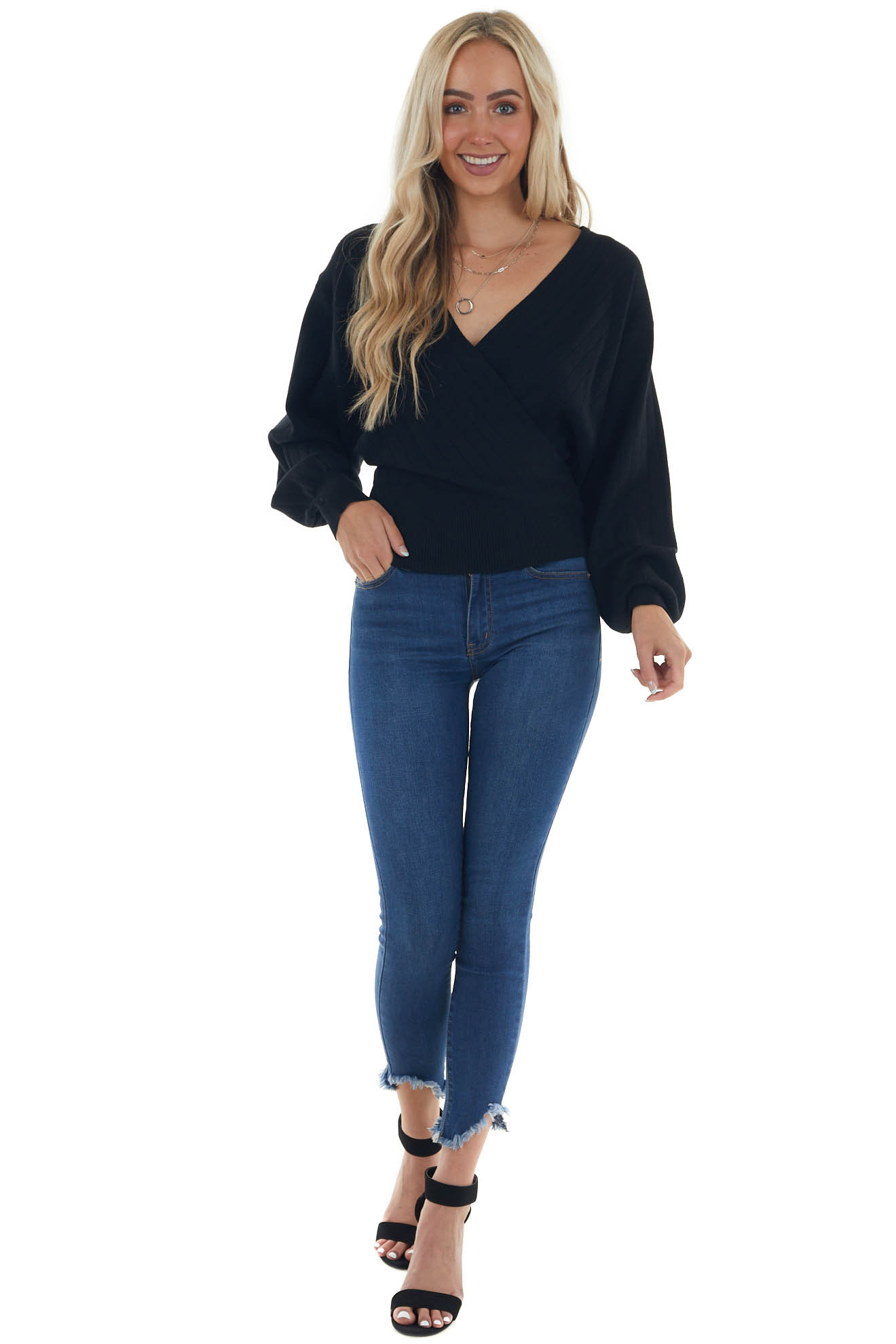 Black Wide Ribbed Surplice Neck Knit Sweater