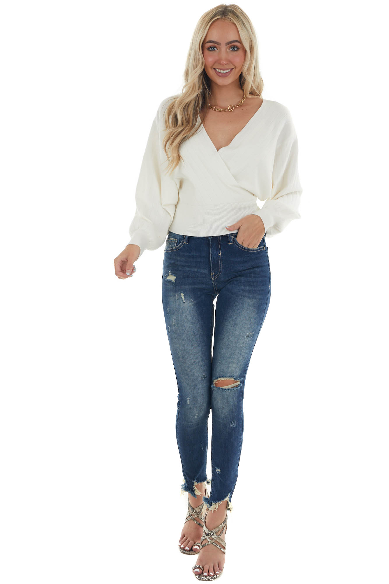 Ivory Wide Ribbed Surplice Neck Knit Sweater