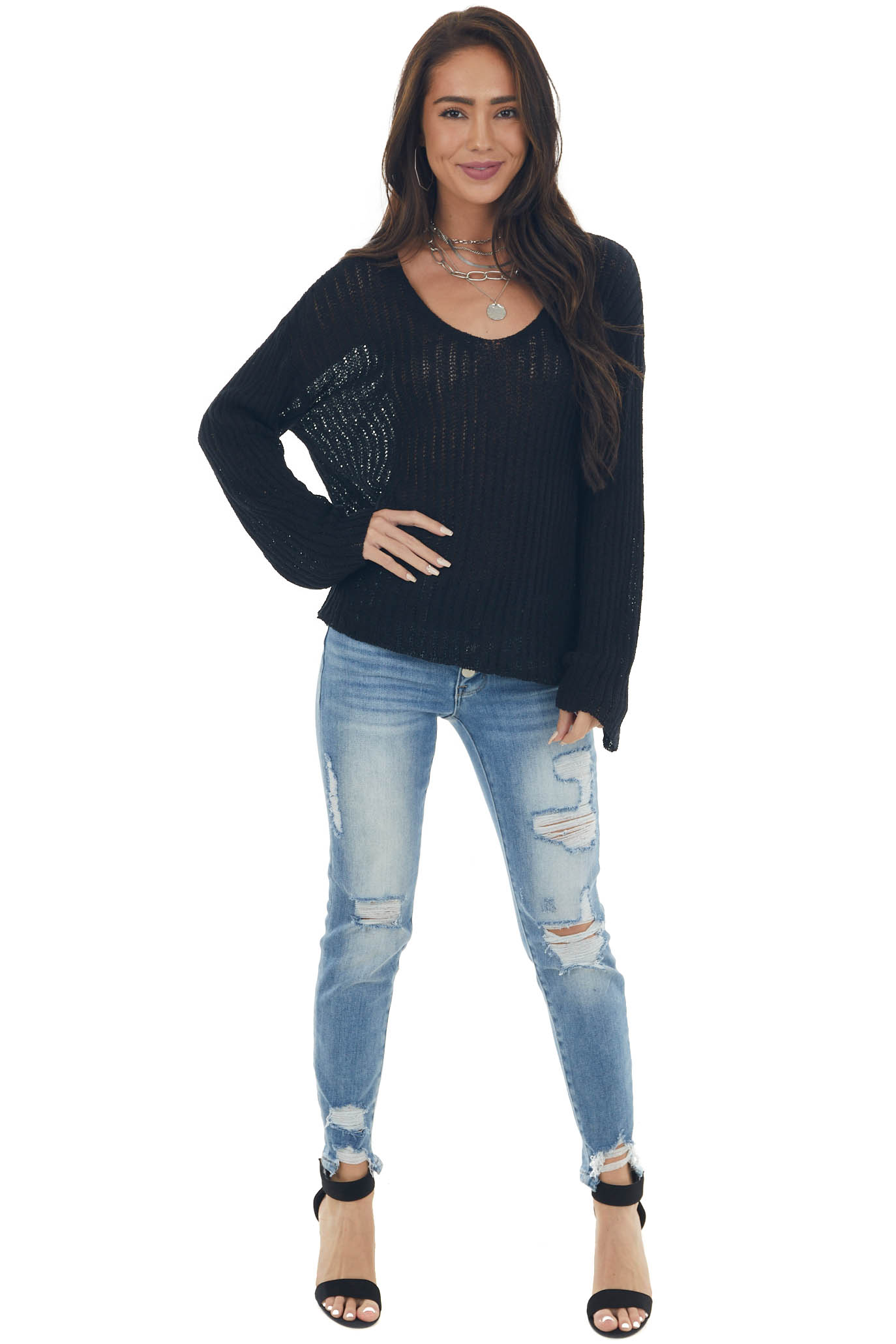 Black Ribbed Long Sleeve Knit Sweater