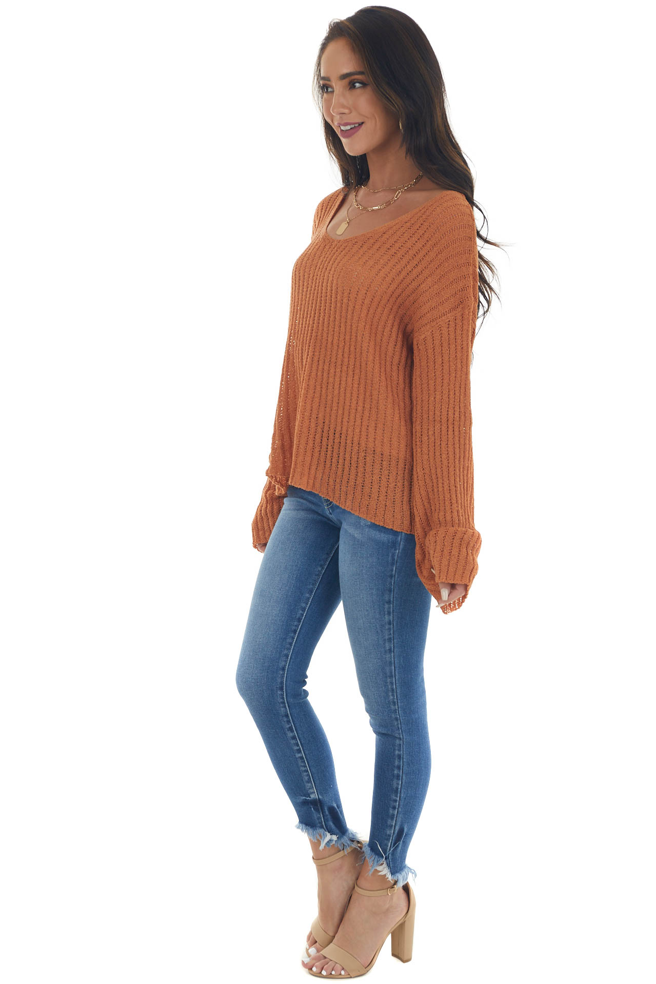 Sandstone Ribbed Long Sleeve Knit Sweater