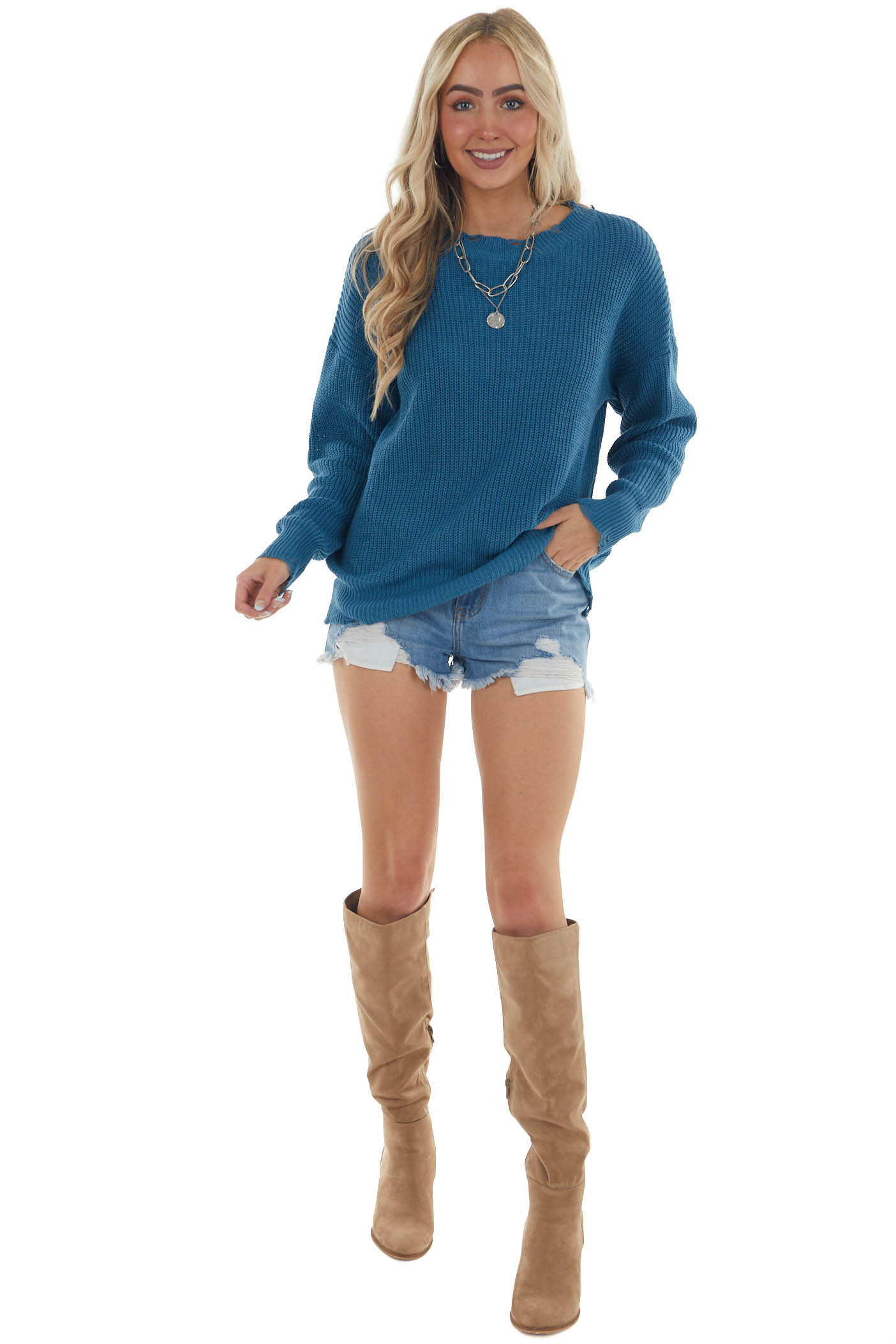 Ocean Distressed Casual Knit Sweater