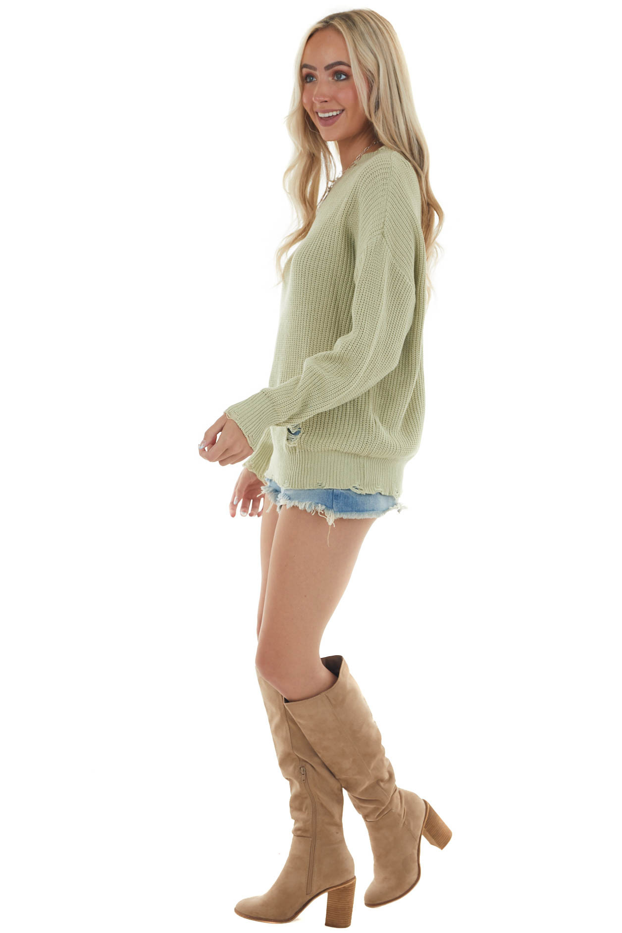 Pistachio Distressed Casual Knit Sweater