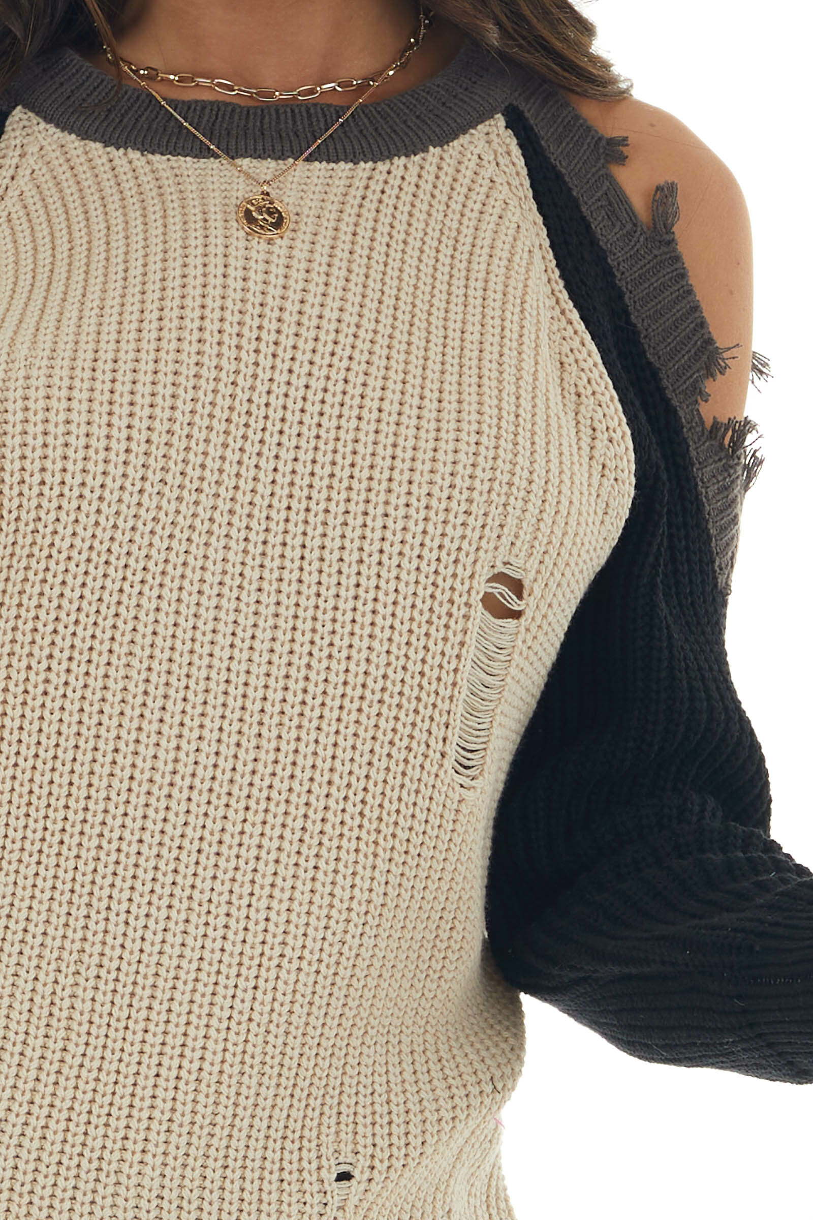 Black Colorblock Sweater with Cold Shoulders