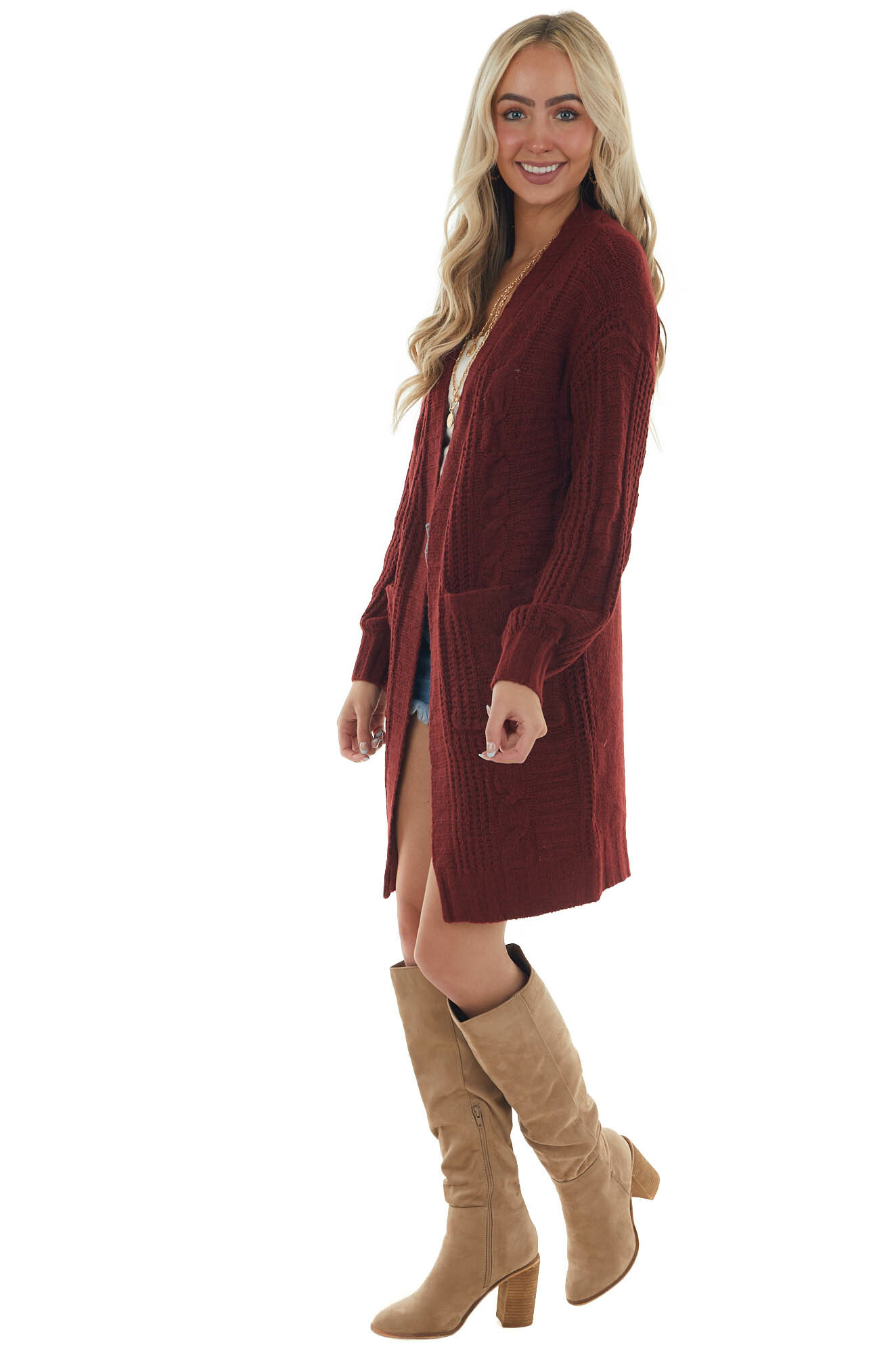 Sangria Open Front Twisted Knit Cardigan