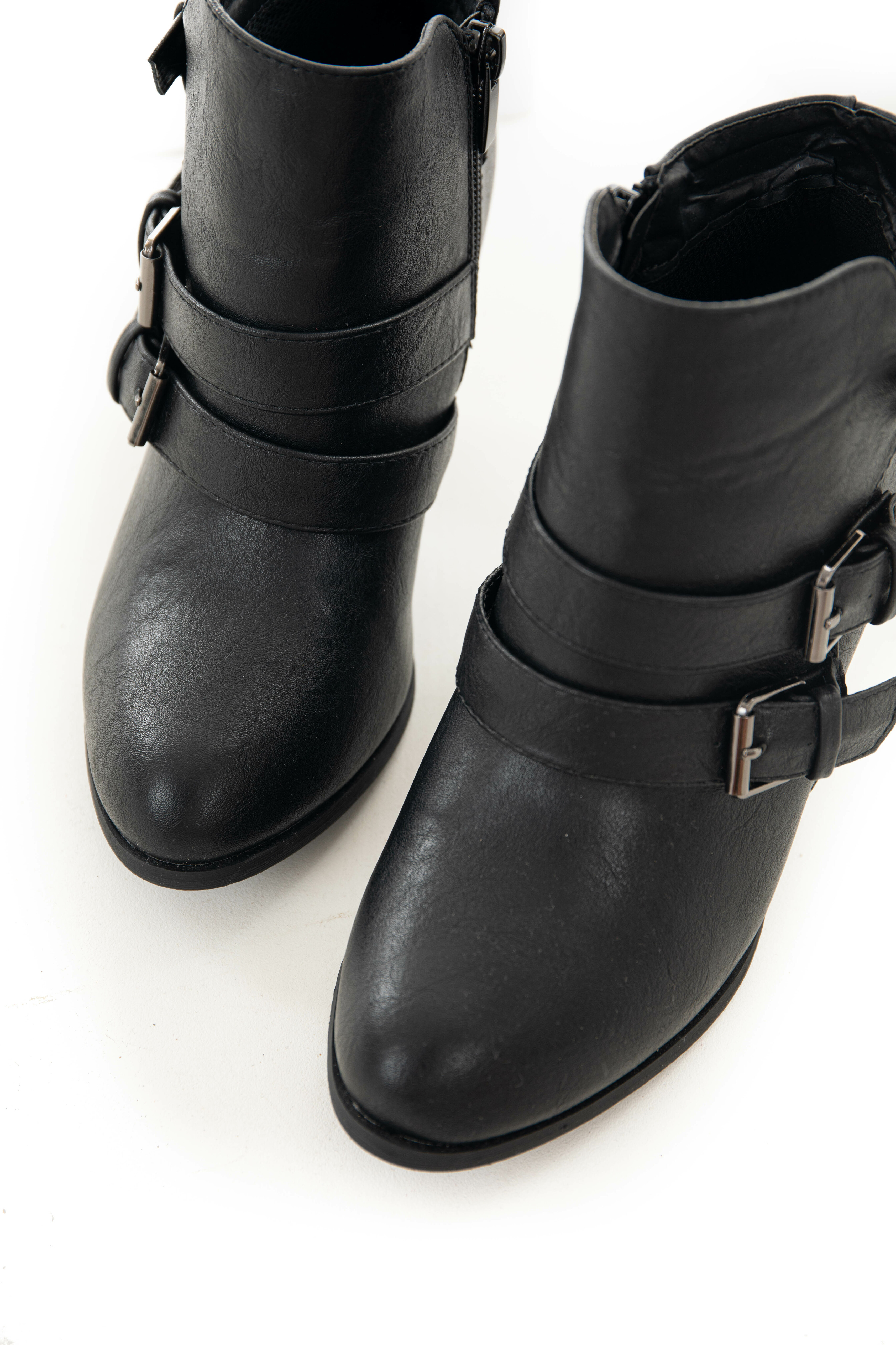Black Faux Leather Heeled Buckle Strap Booties
