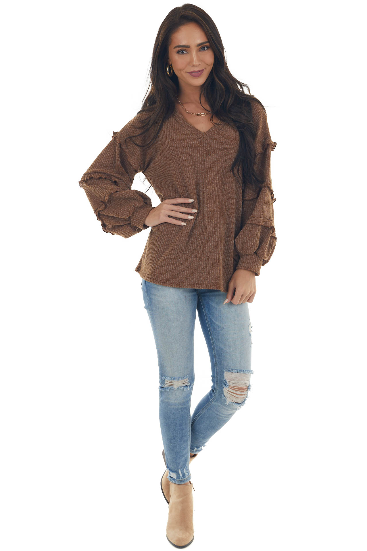 Sepia Ribbed Knit Top with Ruffle Puff Sleeves