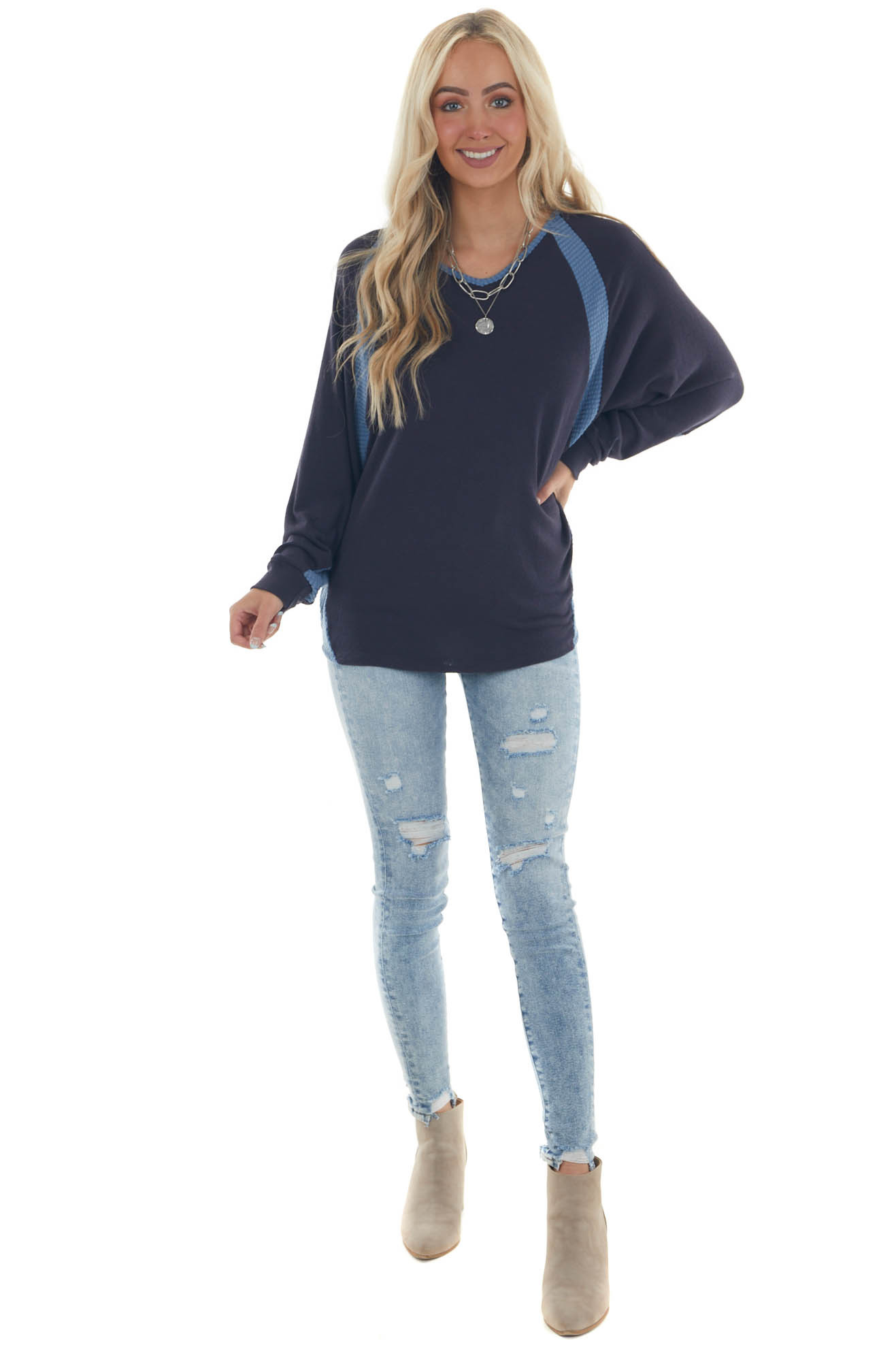 Navy Blue V Neck Knit Top with Ribbed Contrast