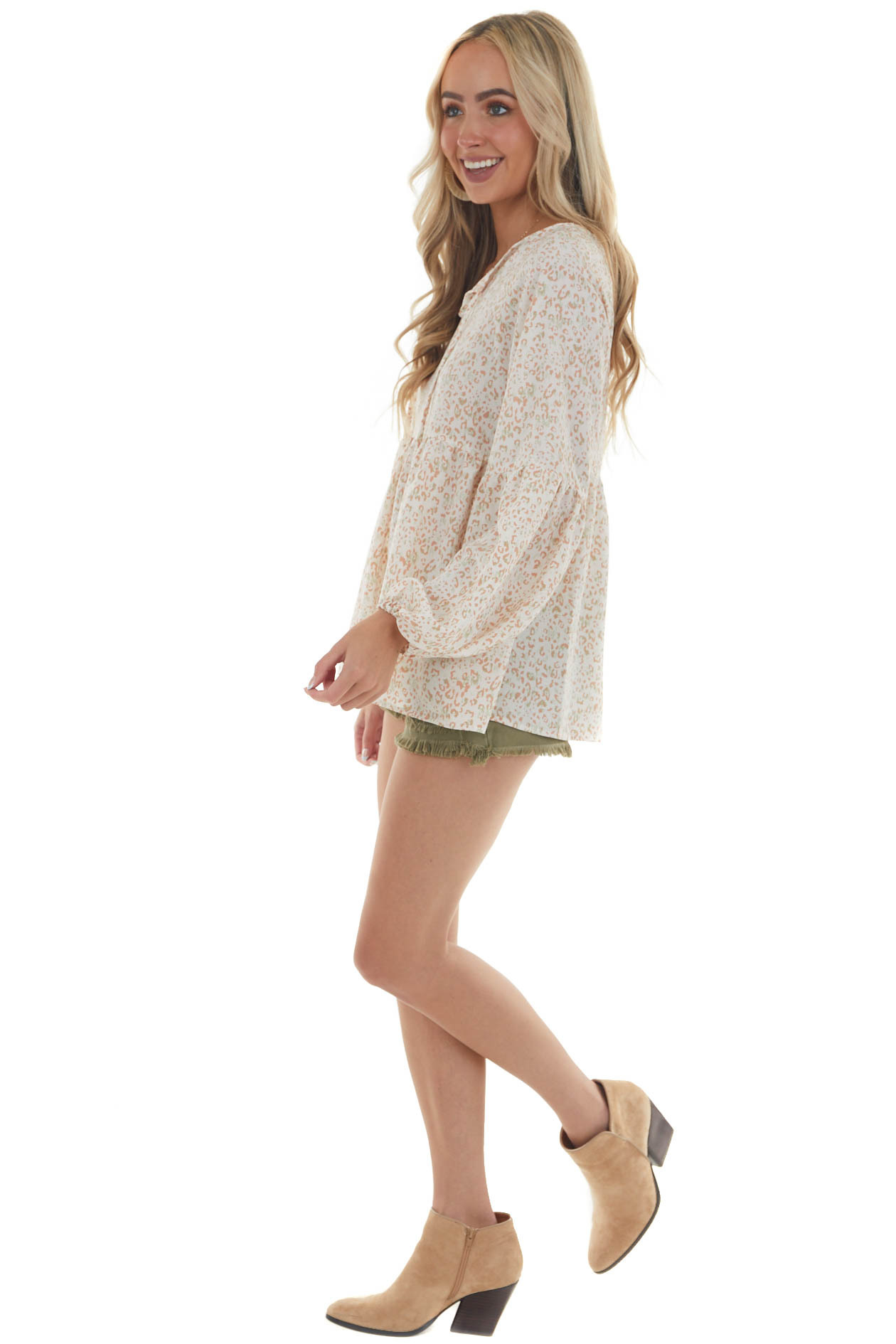Ivory Leopard Long Sleeve Front Tie Blouse