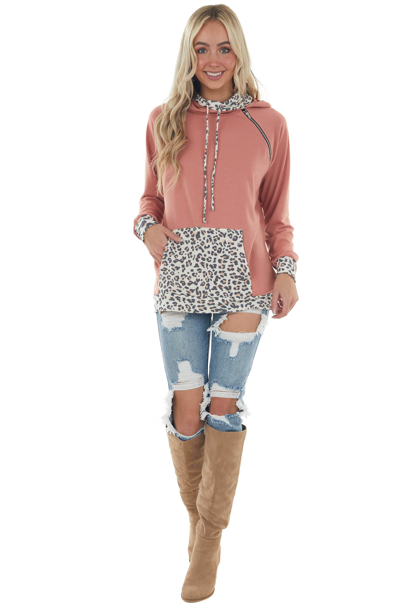 Coral and Leopard Print Jacket with Hoodie