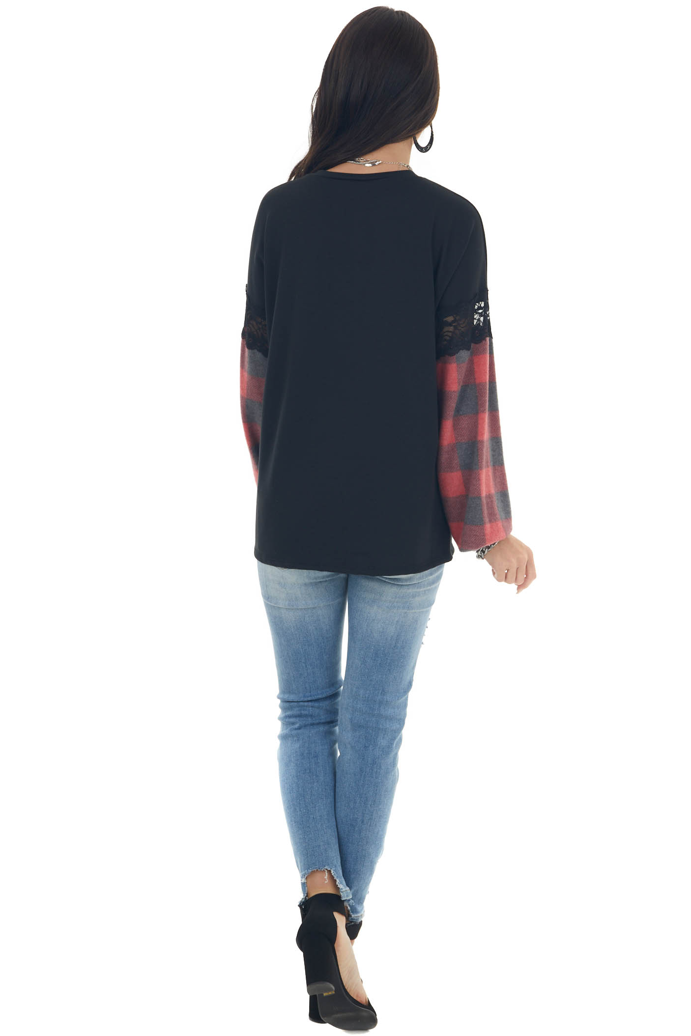 Black Plaid Puff Sleeve Top with Lace Details