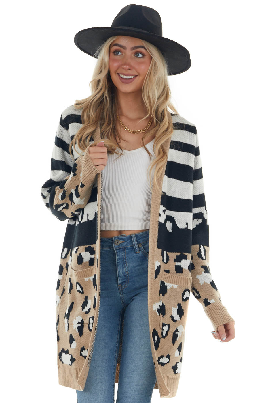 Latte Colorblock Multiprint Thick Knit Cardigan
