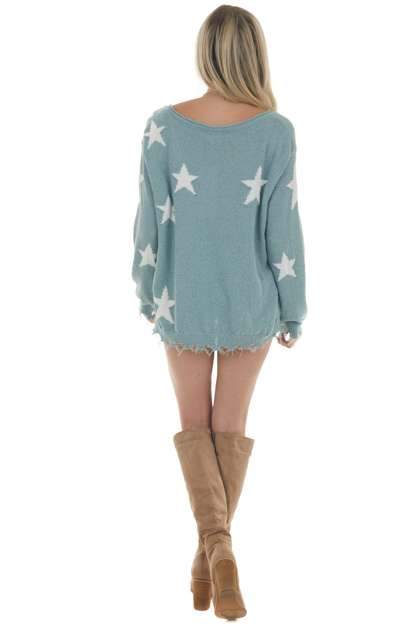 Faded Juniper Star Sweater with Frayed Edges