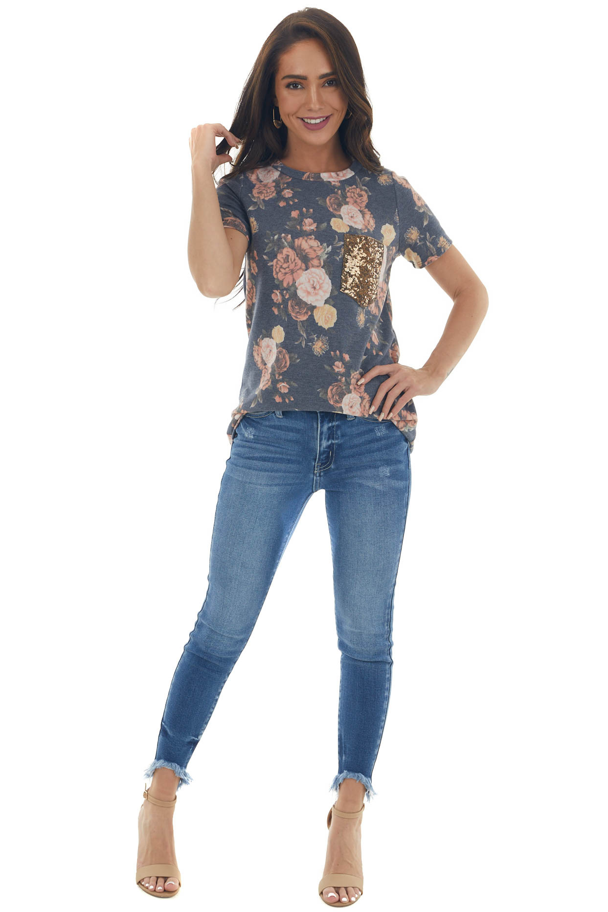 Stormy Blue Floral Top with Gold Sequin Pocket
