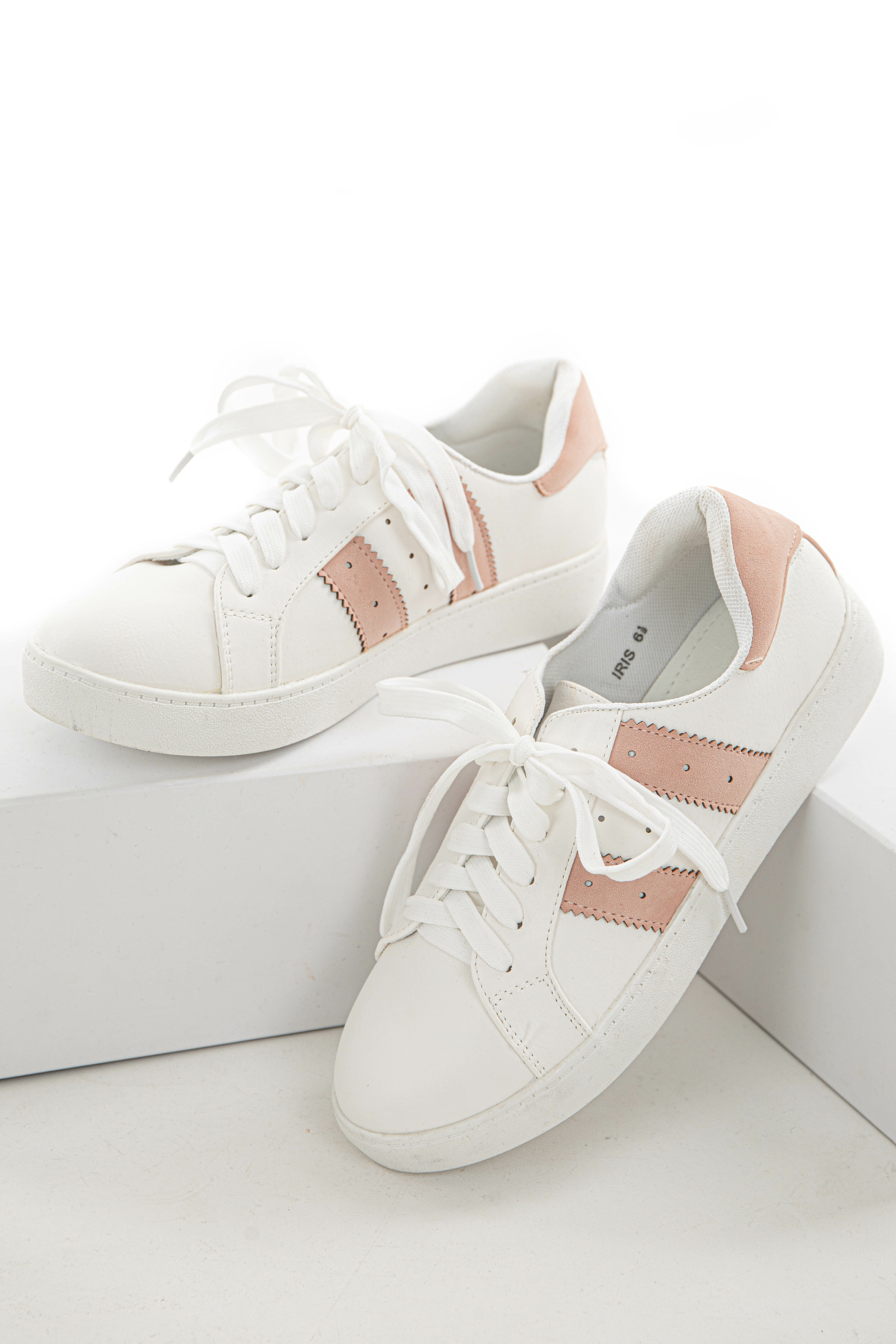 Dusty Blush and White Colorblock Sneakers