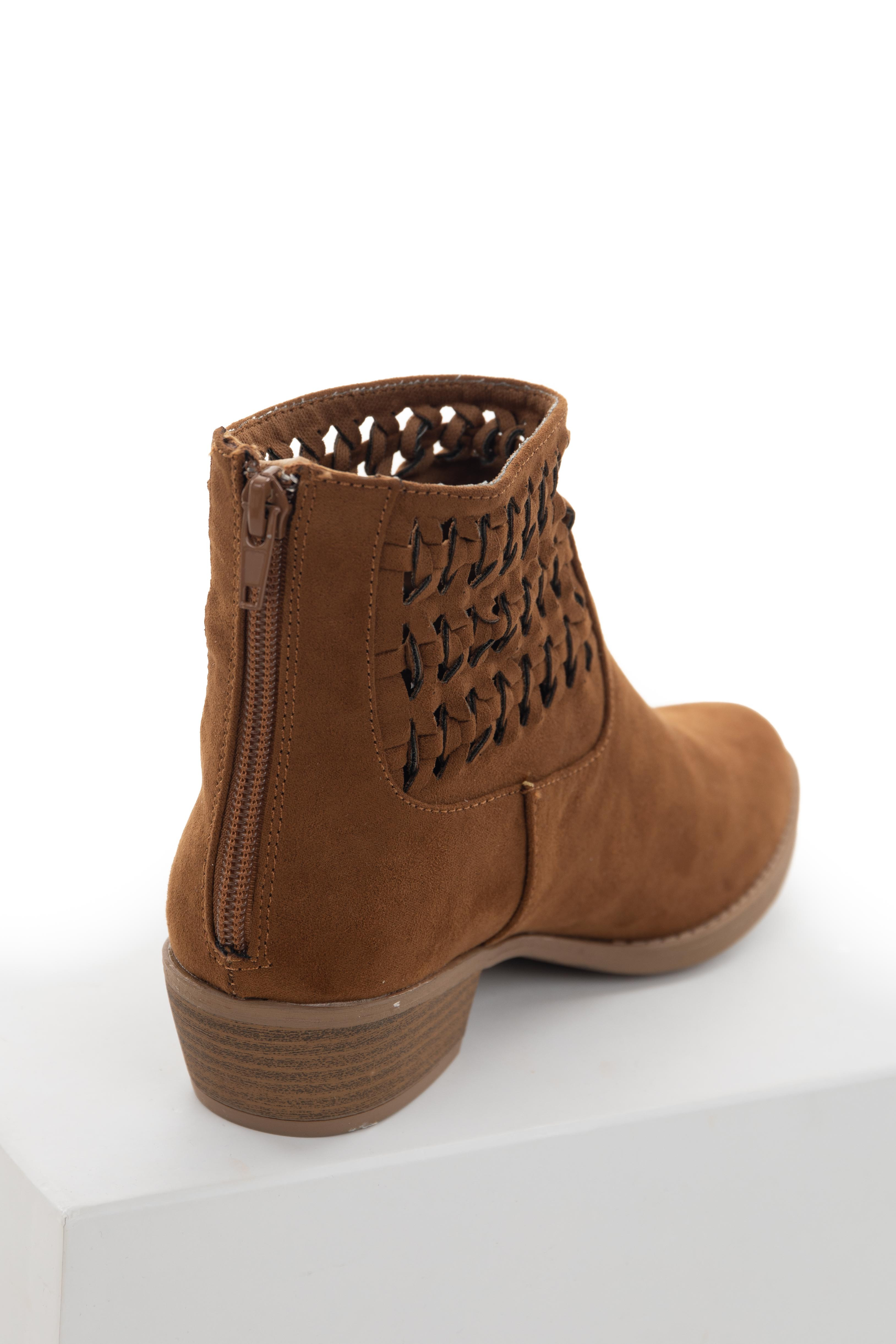 Sepia Faux Suede Braided Panel Booties