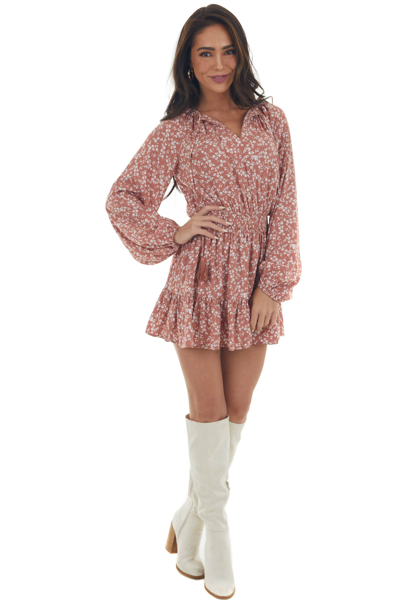 Terracotta Ditsy Floral Bubble Sleeve Romper
