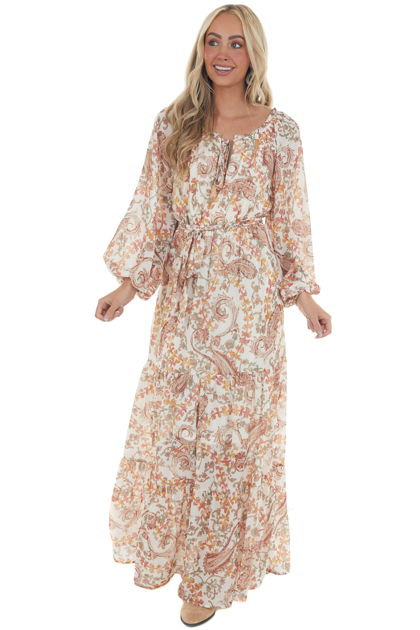 Ivory Printed Bubble Sleeve Tiered Maxi Dress