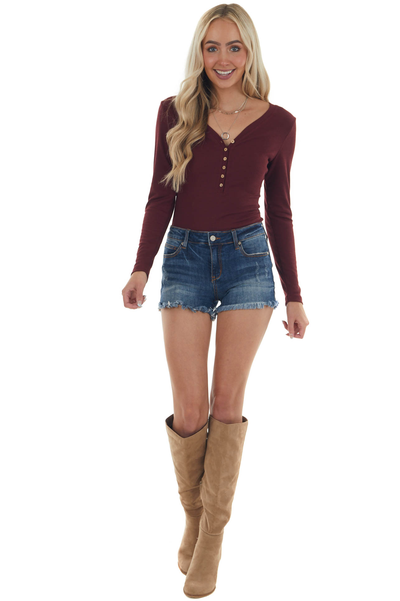 Mahogany Knit Long Sleeve Bodysuit with Button Details