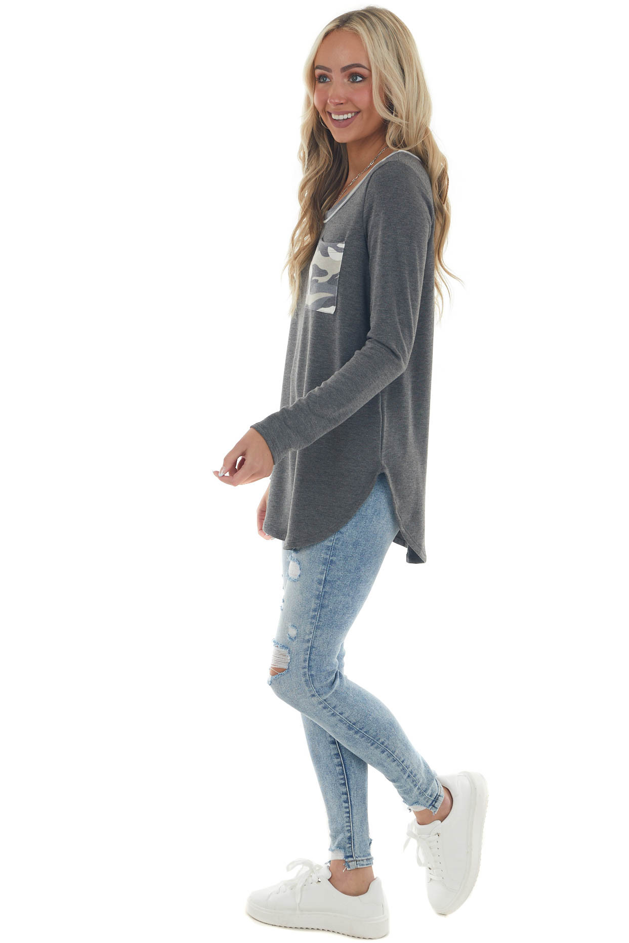 Graphite Camo Contrast Long Sleeve Knit Top