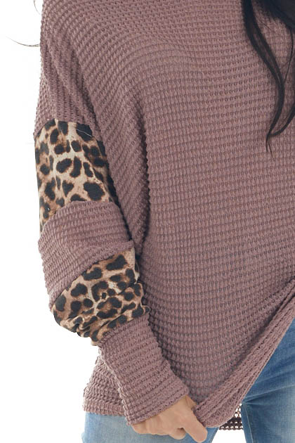 Rose Taupe and Leopard Dolman Sleeve Waffle Knit Top