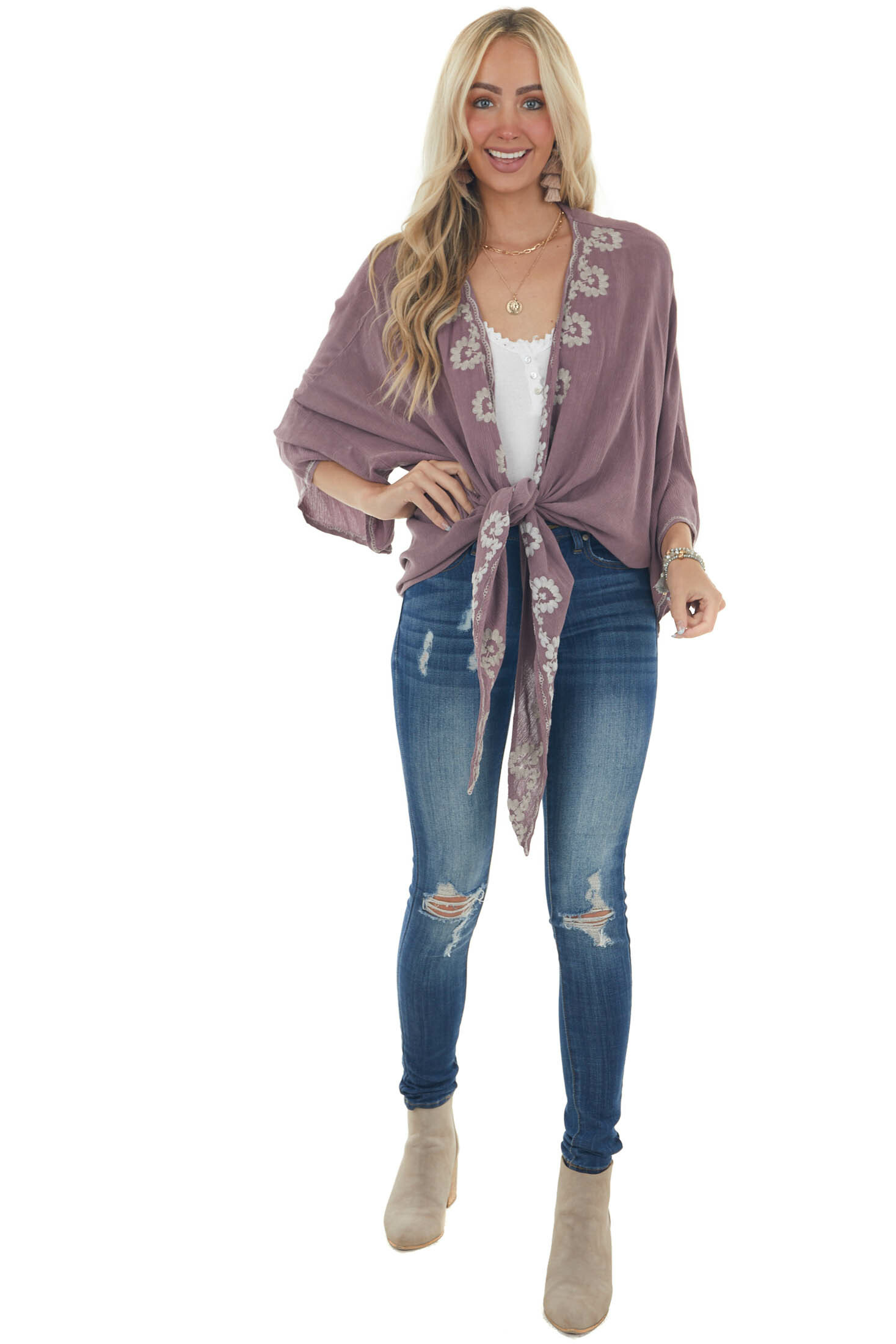 Mauve Floral Embroidered Kimono with Front Tie
