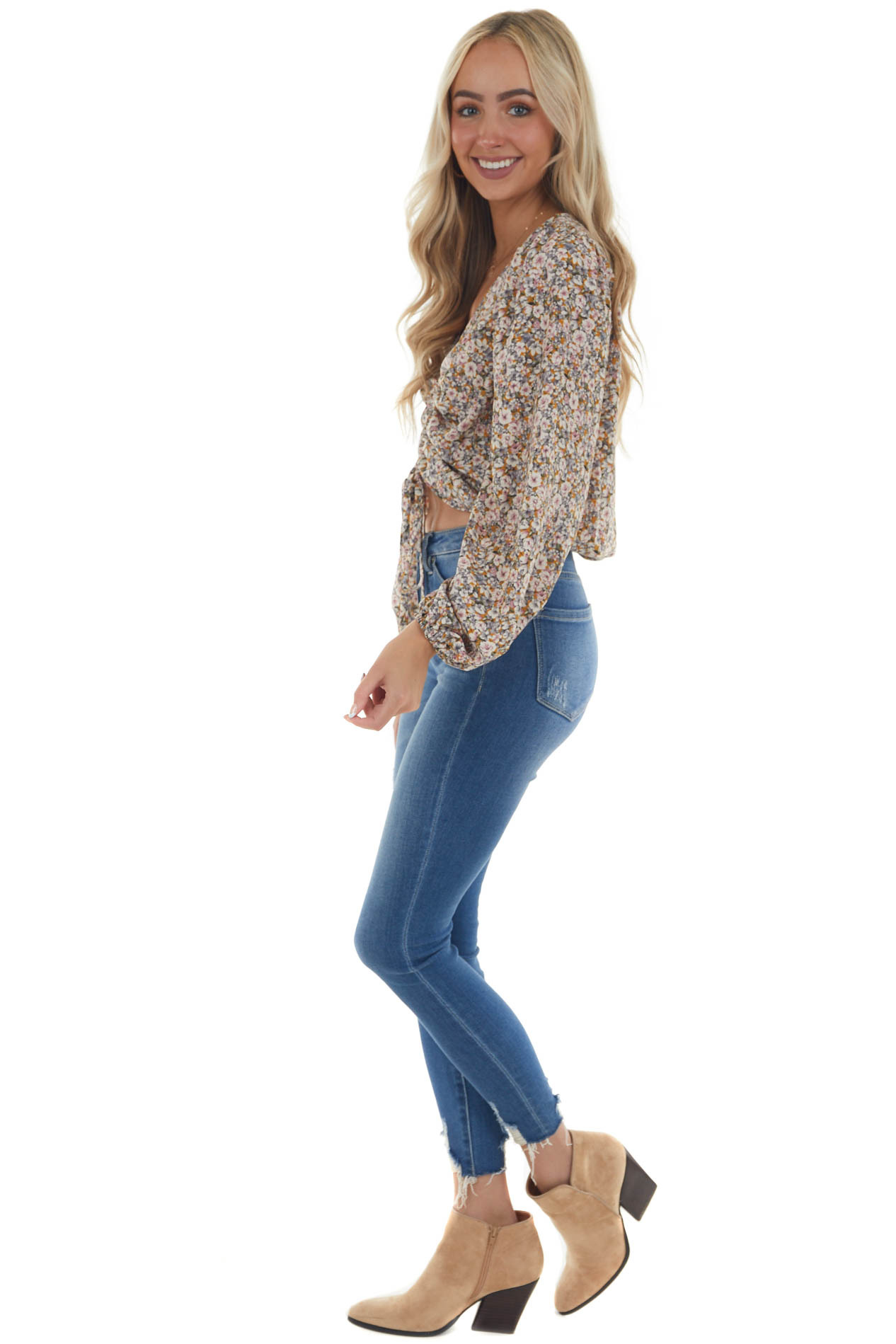 Honey Floral Print Ruched Bubble Sleeve Blouse