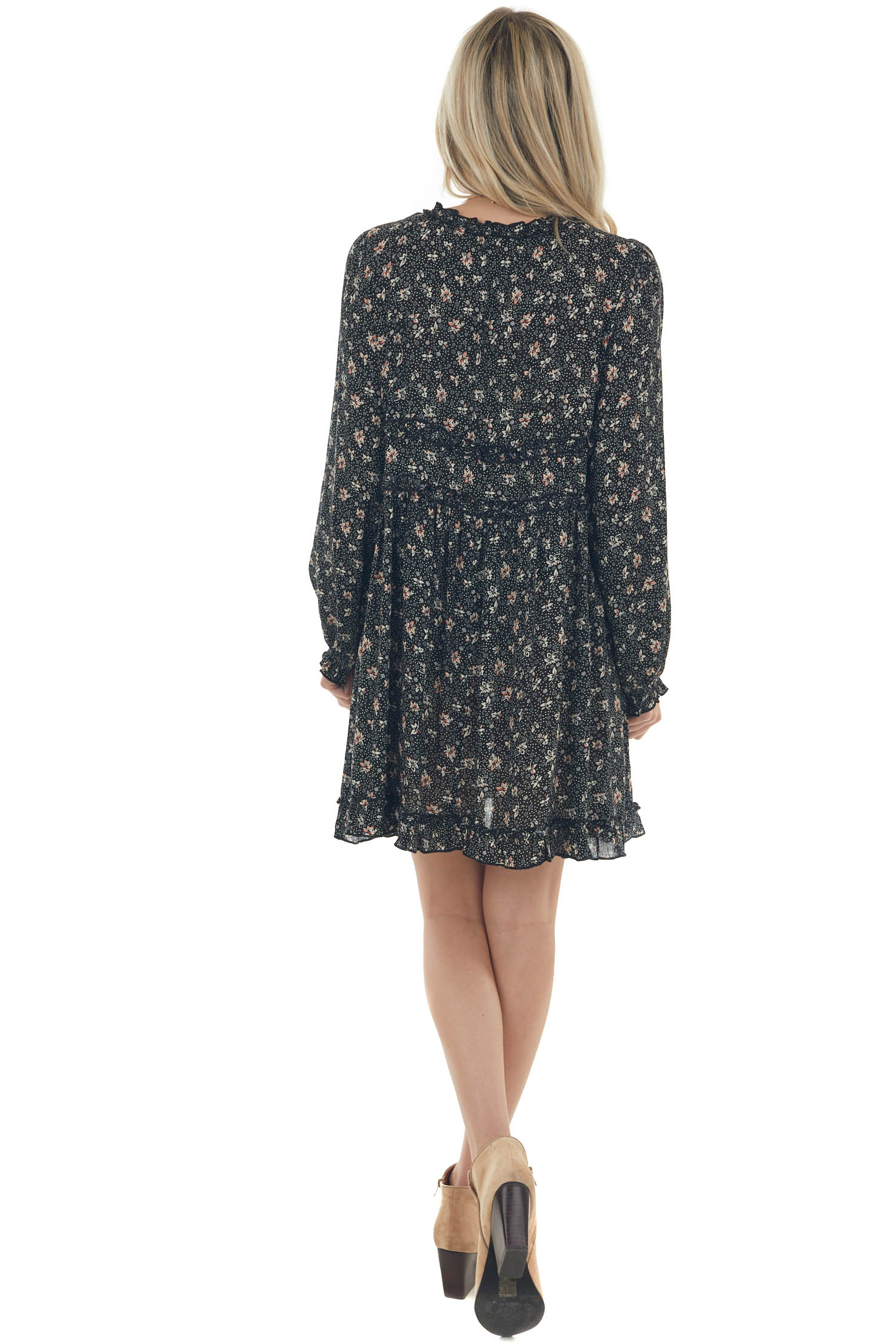Black and Cream Ditsy Floral Babydoll Dress