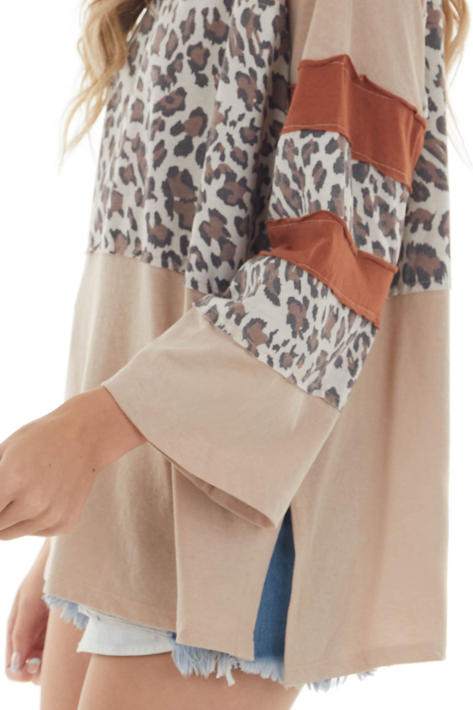 Nude and Leopard Colorblock 3/4 Sleeve Top