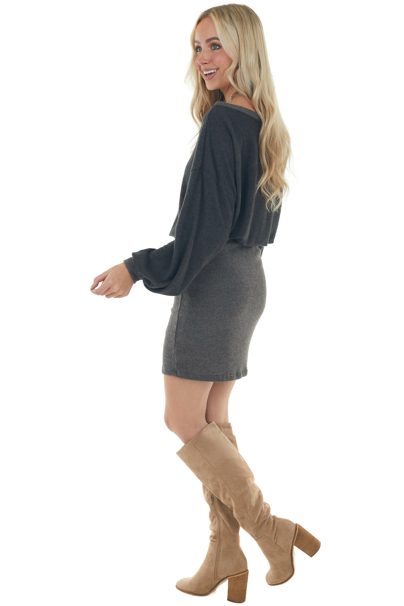 Charcoal Ribbed Skirt Brushed Sweater Dress