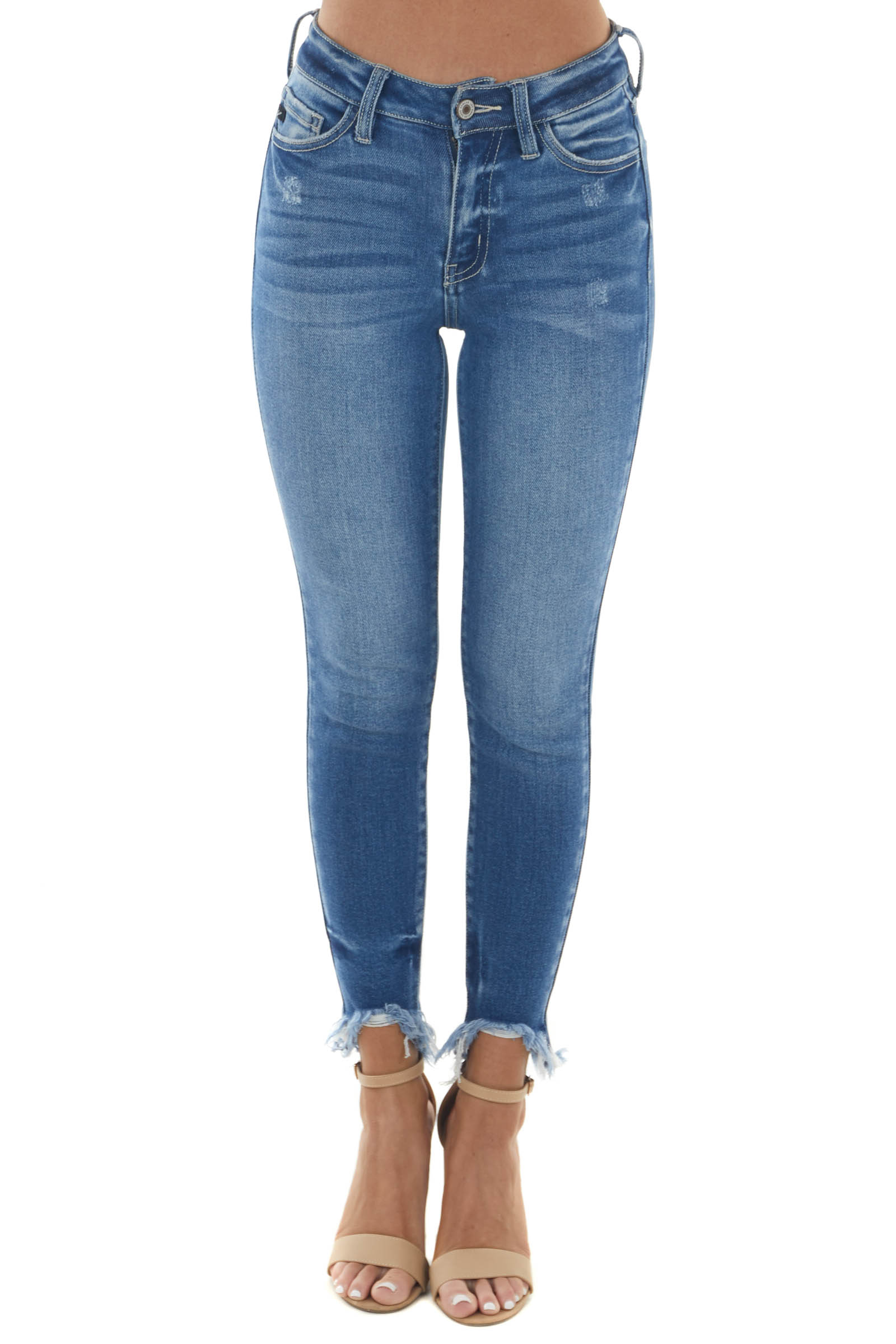 Mid Wash High Rise Frayed Ankle Skinny Jeans