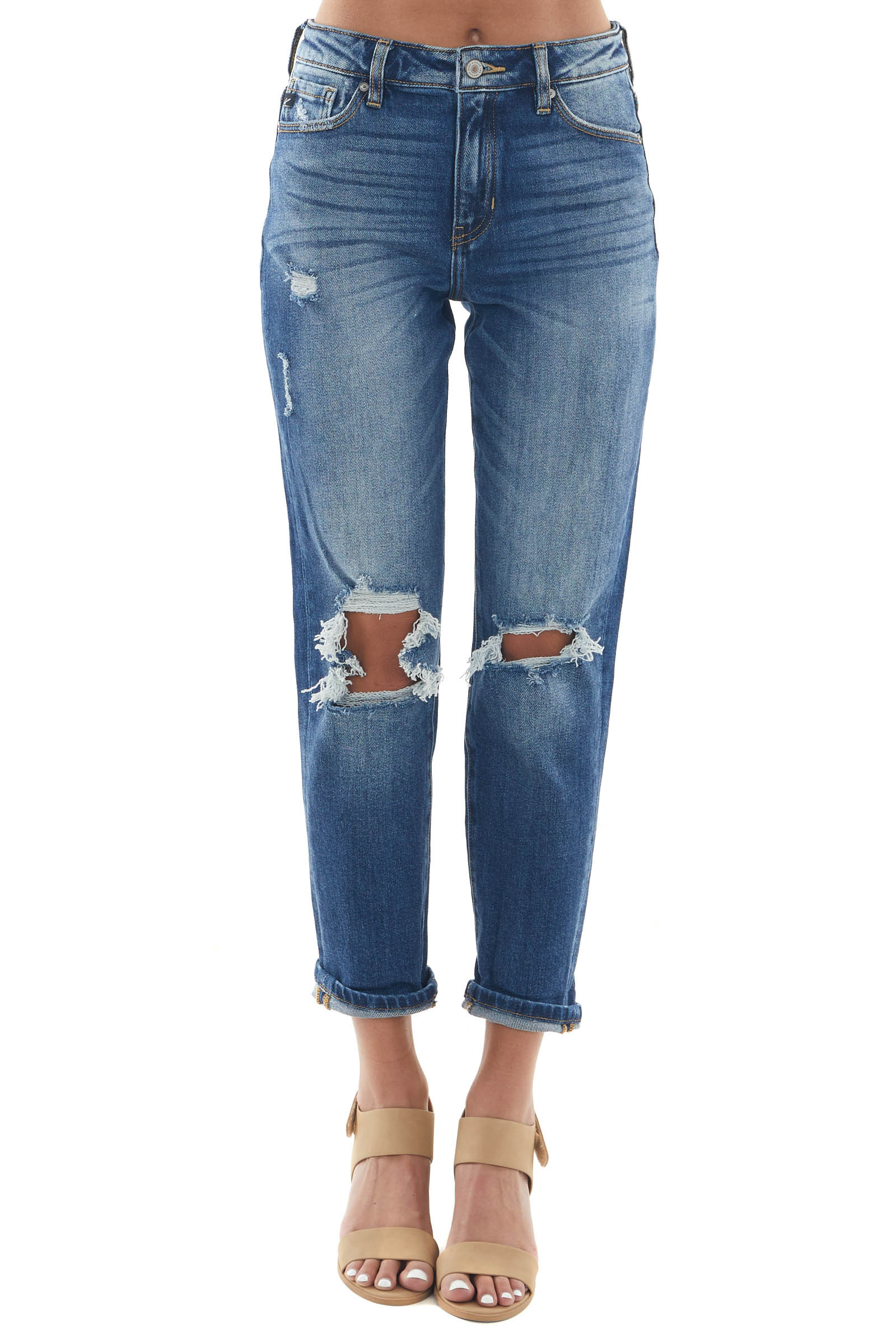 Dark Wash High Rise Knee Torn Mom Fit Jeans
