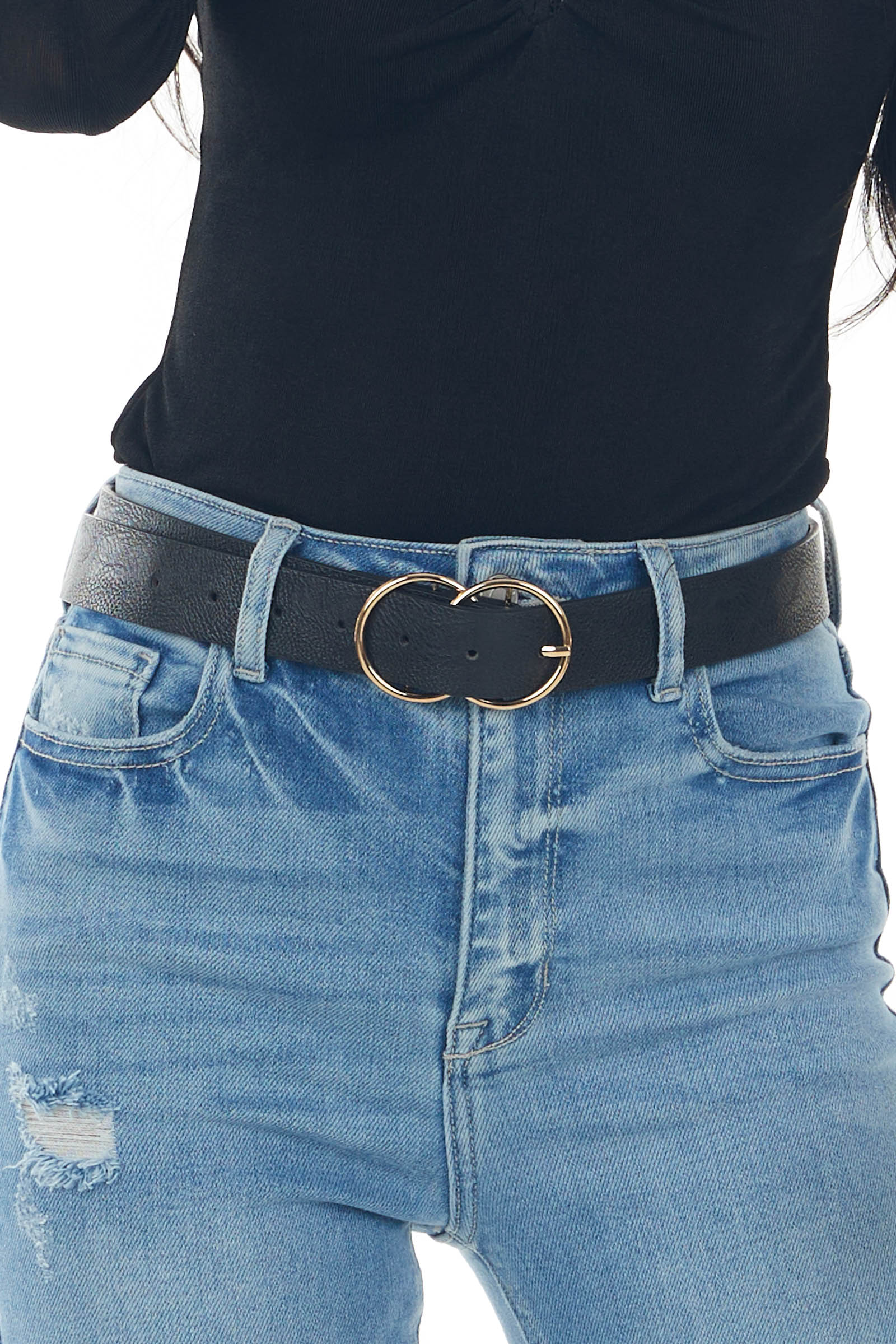 Black Double Ring Buckle Faux Leather Belt