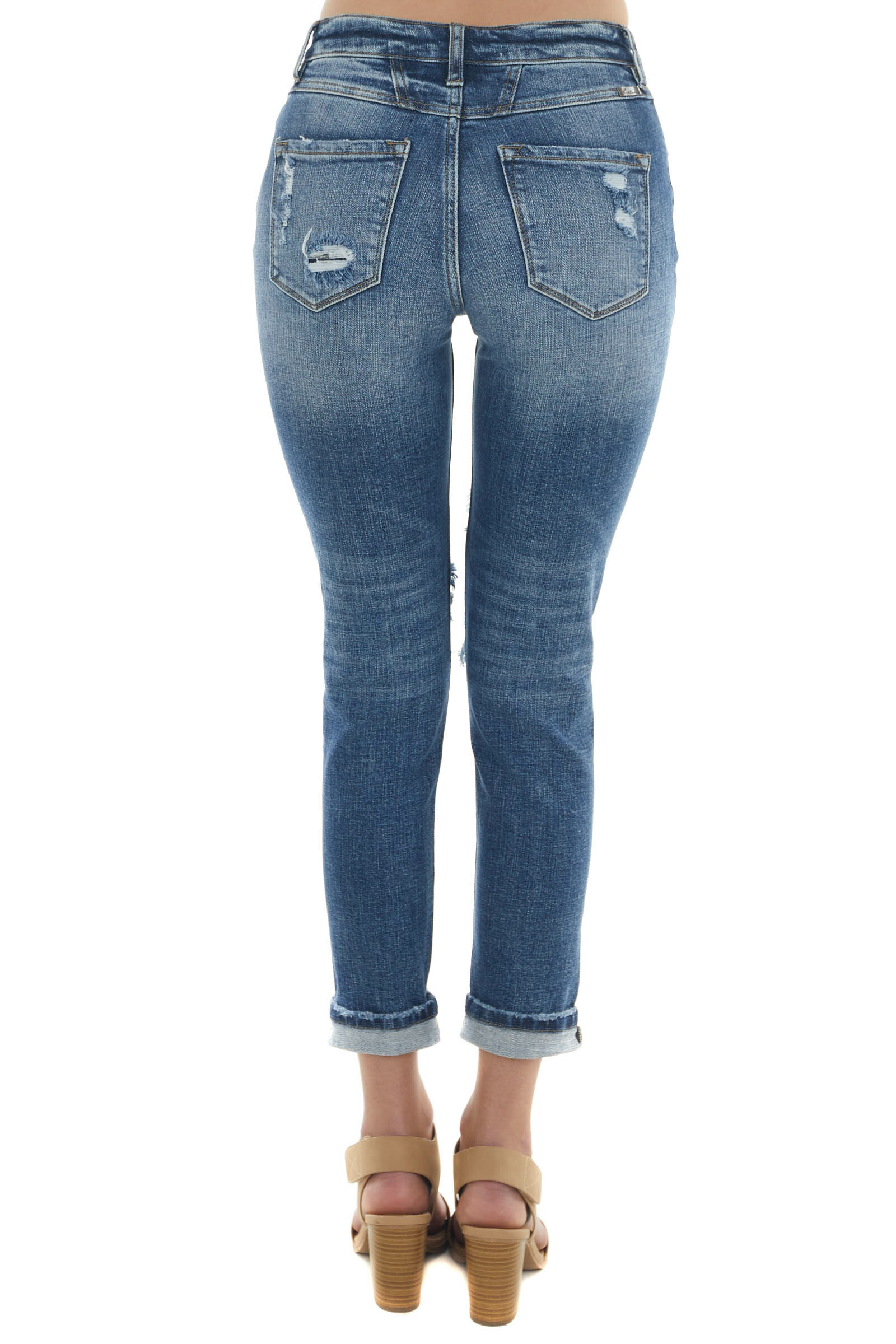 Medium Wash High Rise Distressed Mom Fit Jeans