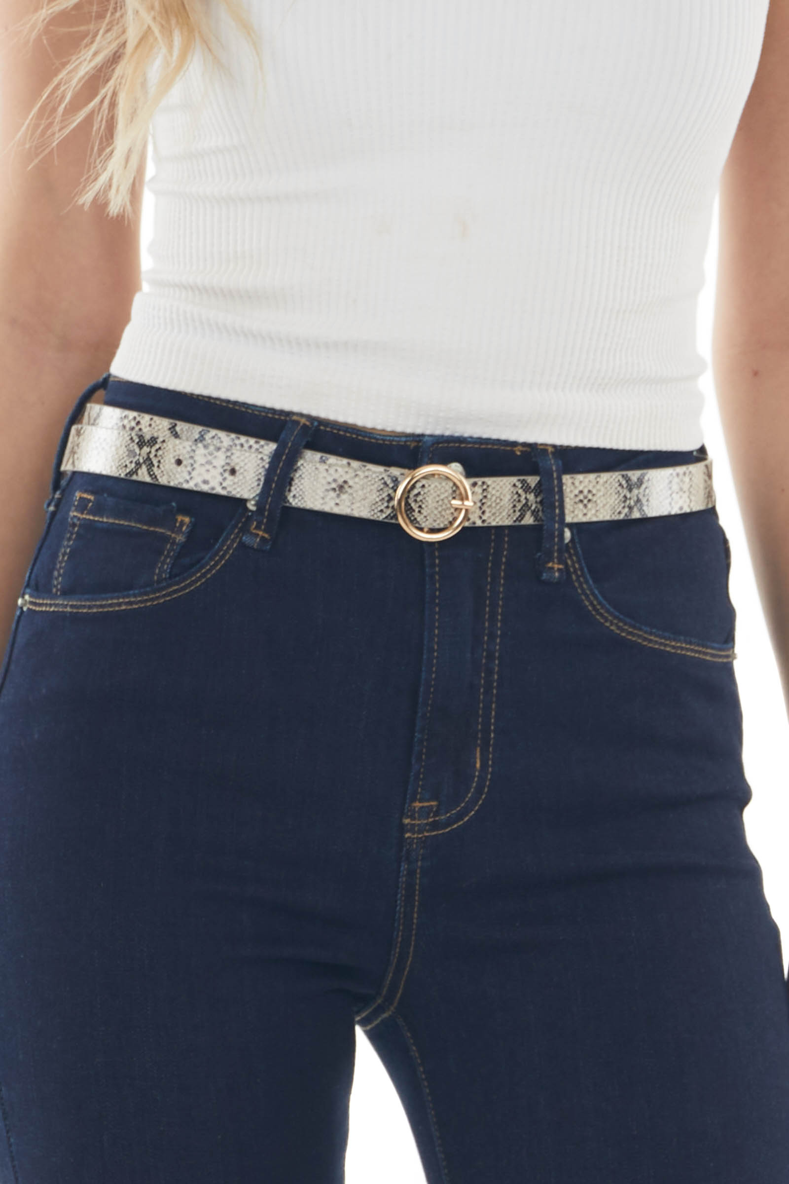 Latte Snake Print Belt with Gold Ring Buckle