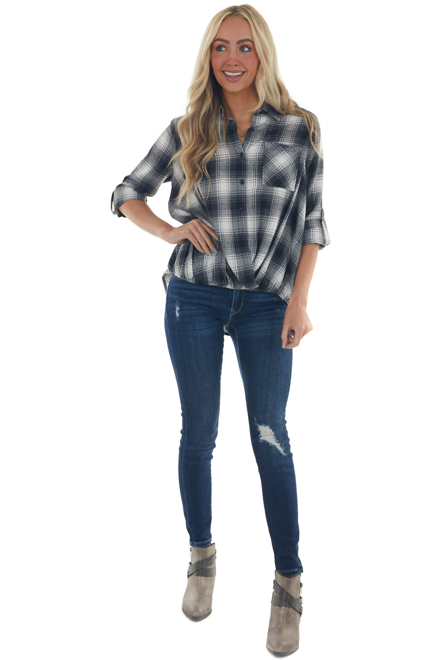 Black and Ivory Plaid Button Up Woven Top