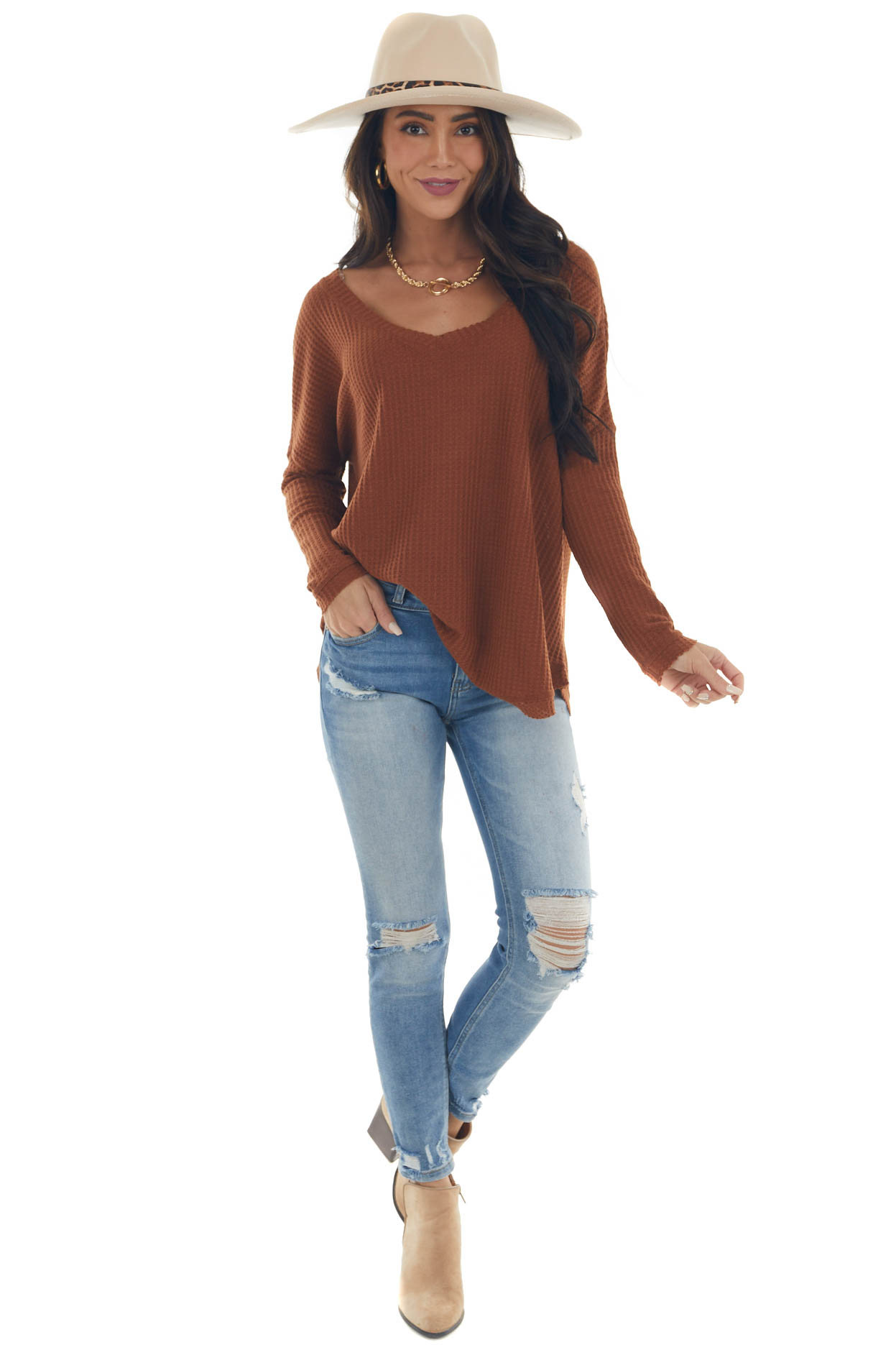 Spice Brown Raw Edge V Neck Waffle Knit Top