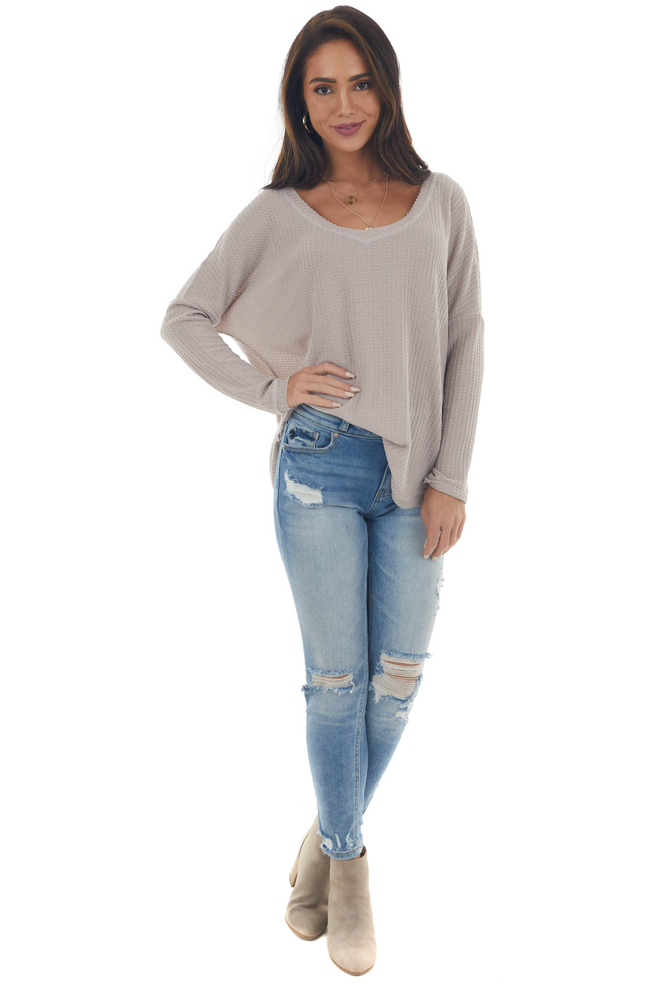Light Taupe Raw Edge V Neck Waffle Knit Top