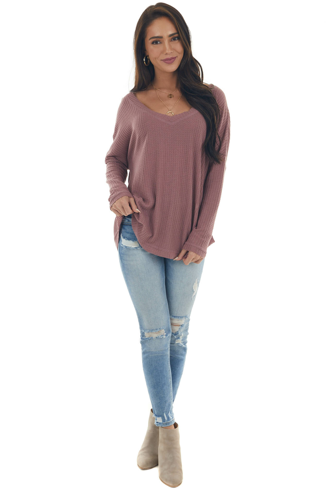 Faded Berry Raw Edge V Neck Waffle Knit Top