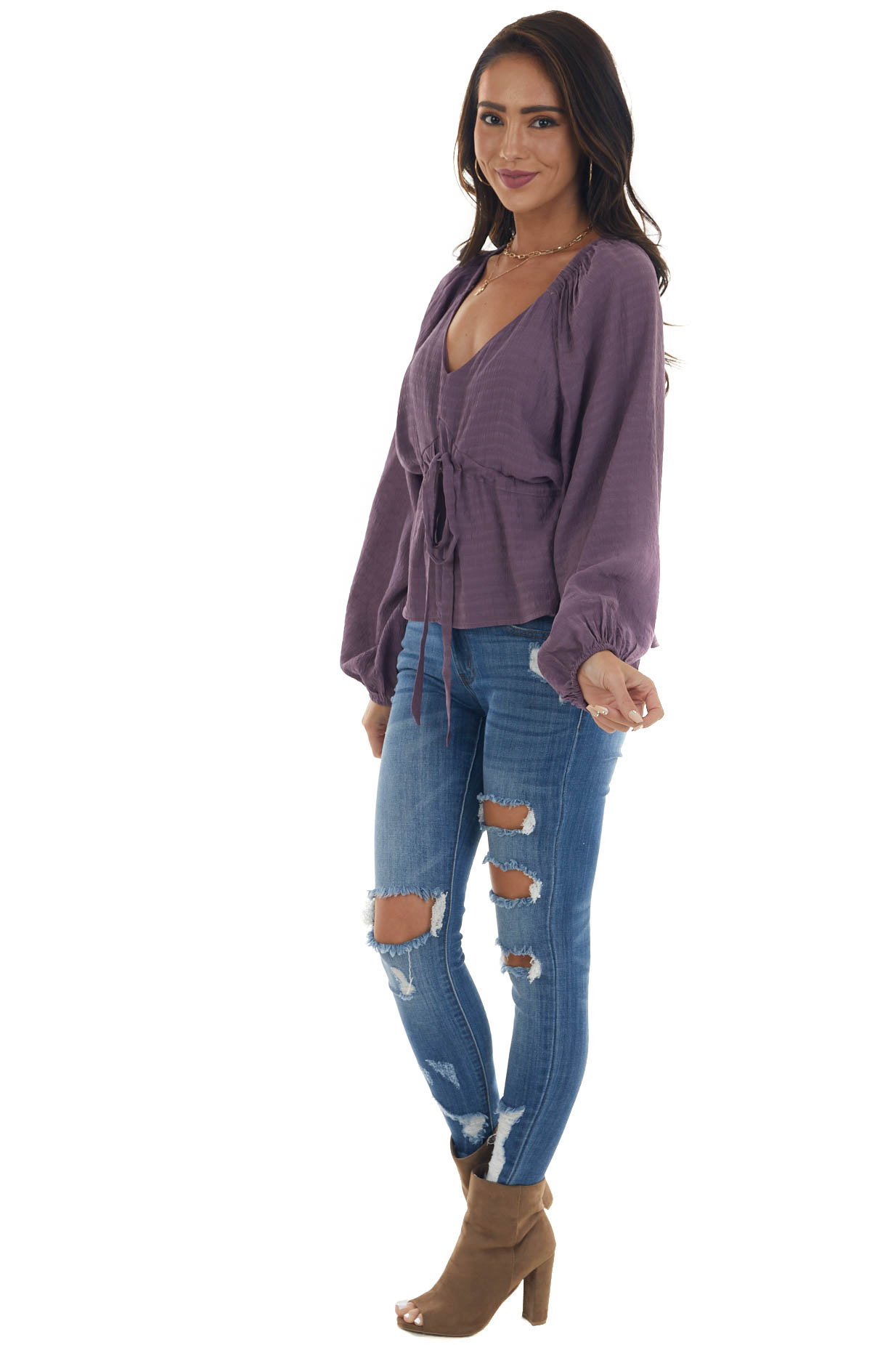 Deep Lilac V Neck Flowy Blouse with Tie Detail